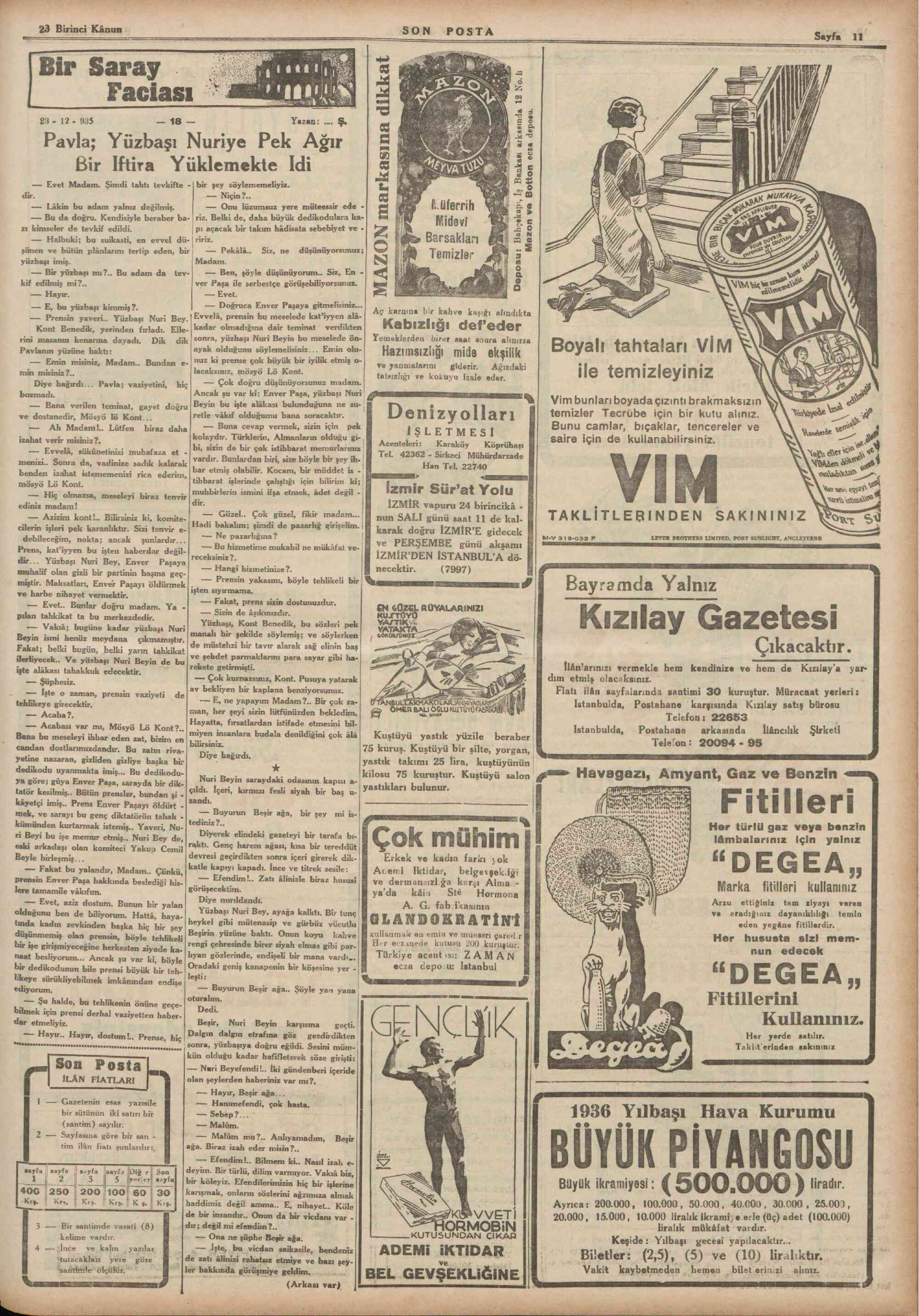 23 Aralık 1935 Tarihli Son Posta Dergisi Sayfa 11