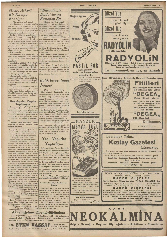 26 Aralık 1935 Tarihli Son Posta Dergisi Sayfa 10