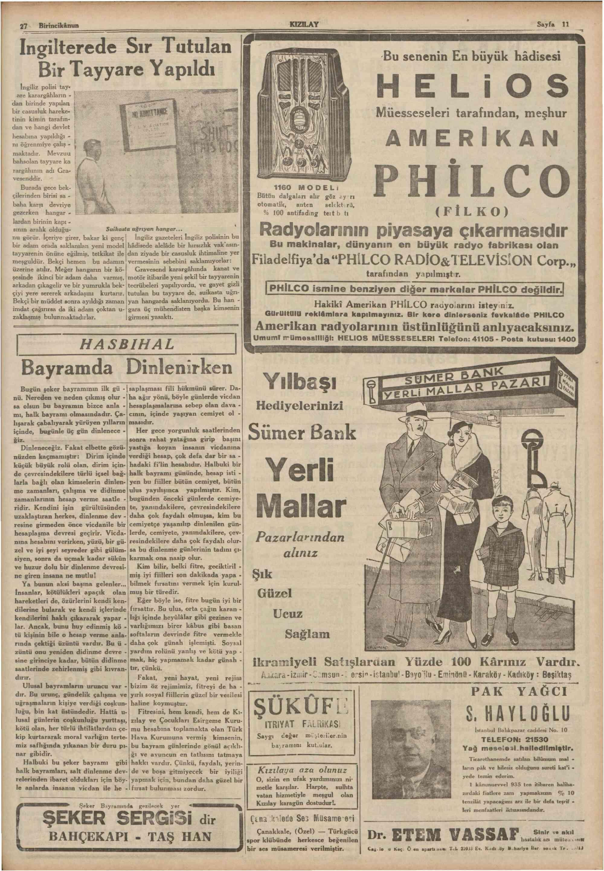 27 Aralık 1935 tarihli Son Posta Gazetesi Sayfa 11