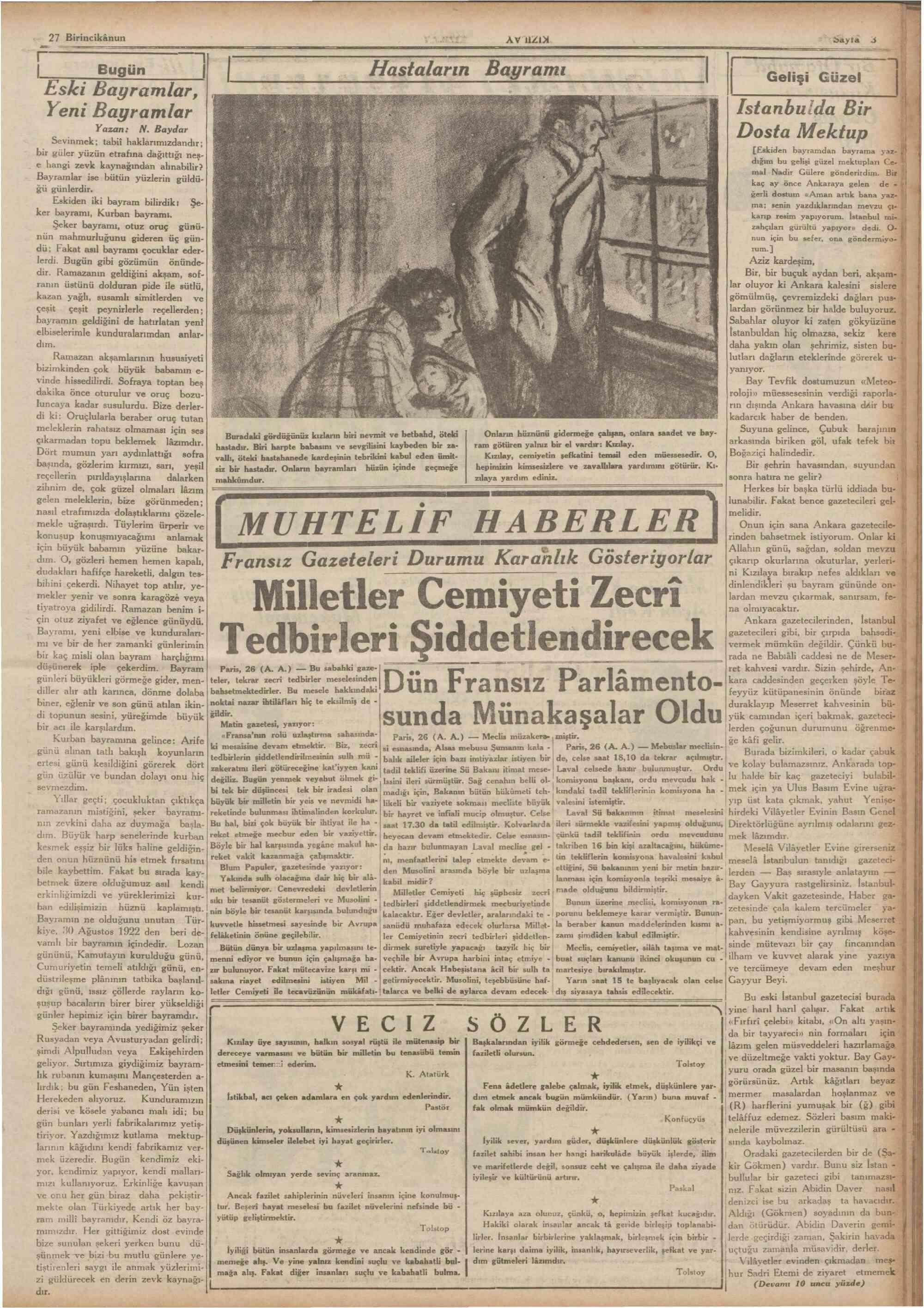 27 Aralık 1935 tarihli Son Posta Gazetesi Sayfa 3