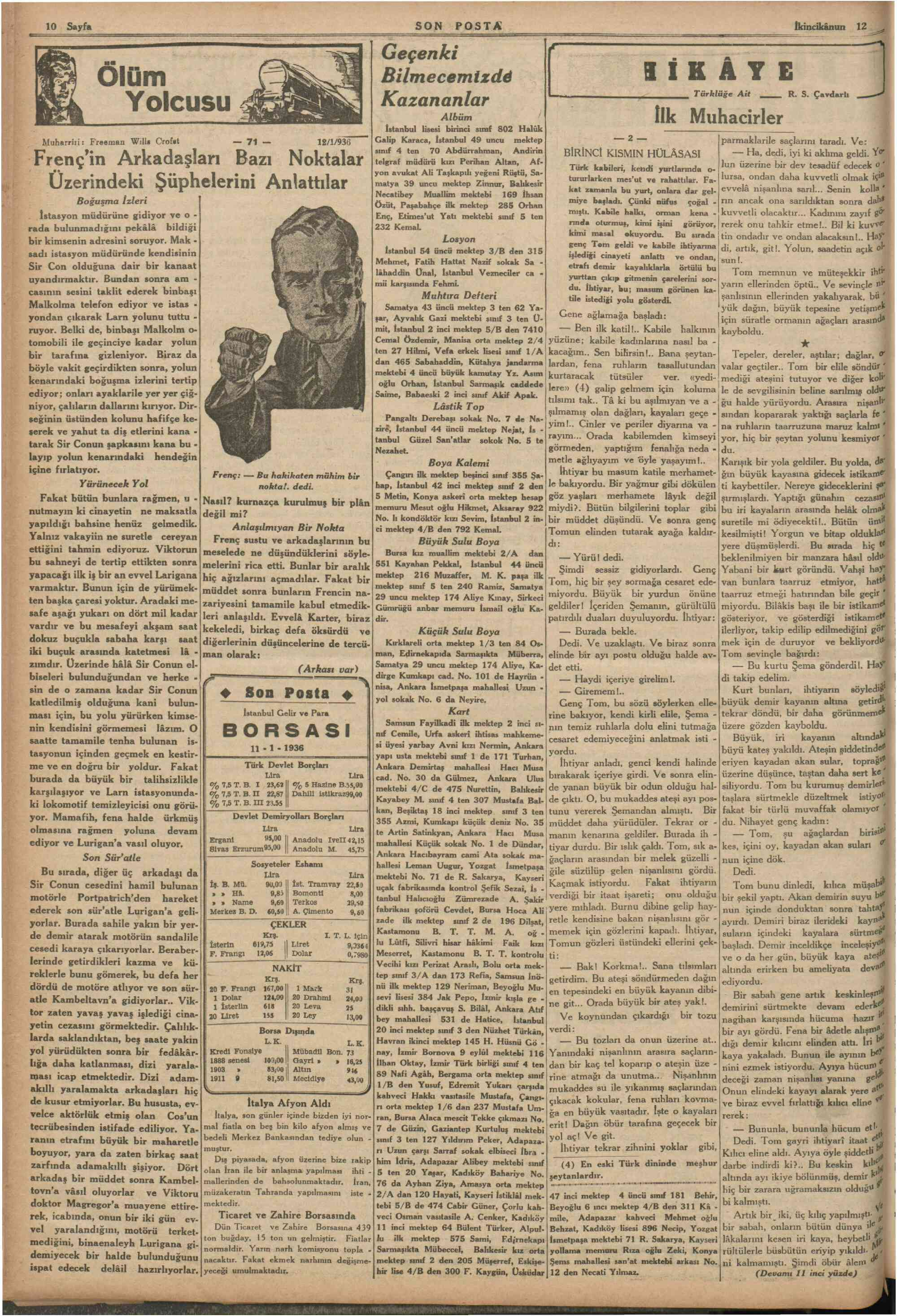 12 Ocak 1936 Tarihli Son Posta Dergisi Sayfa 10