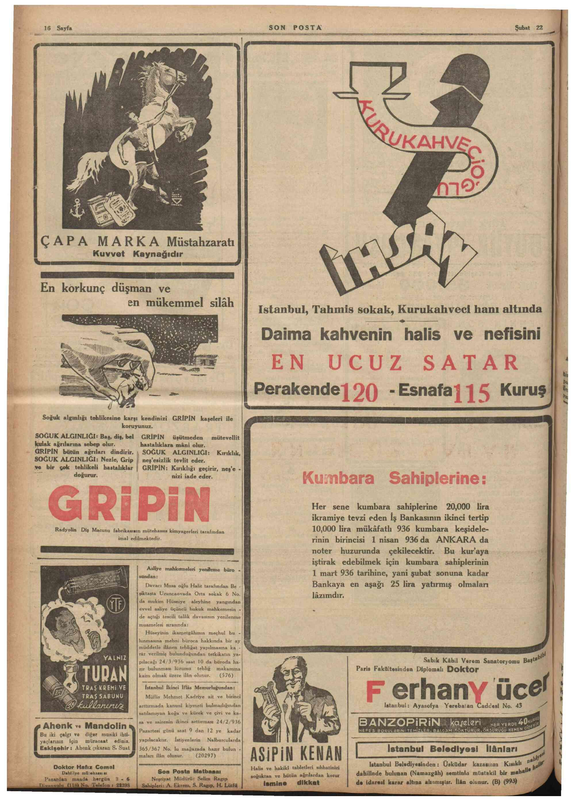 23 Şubat 1936 Tarihli Son Posta Gazetesi Sayfa 1
