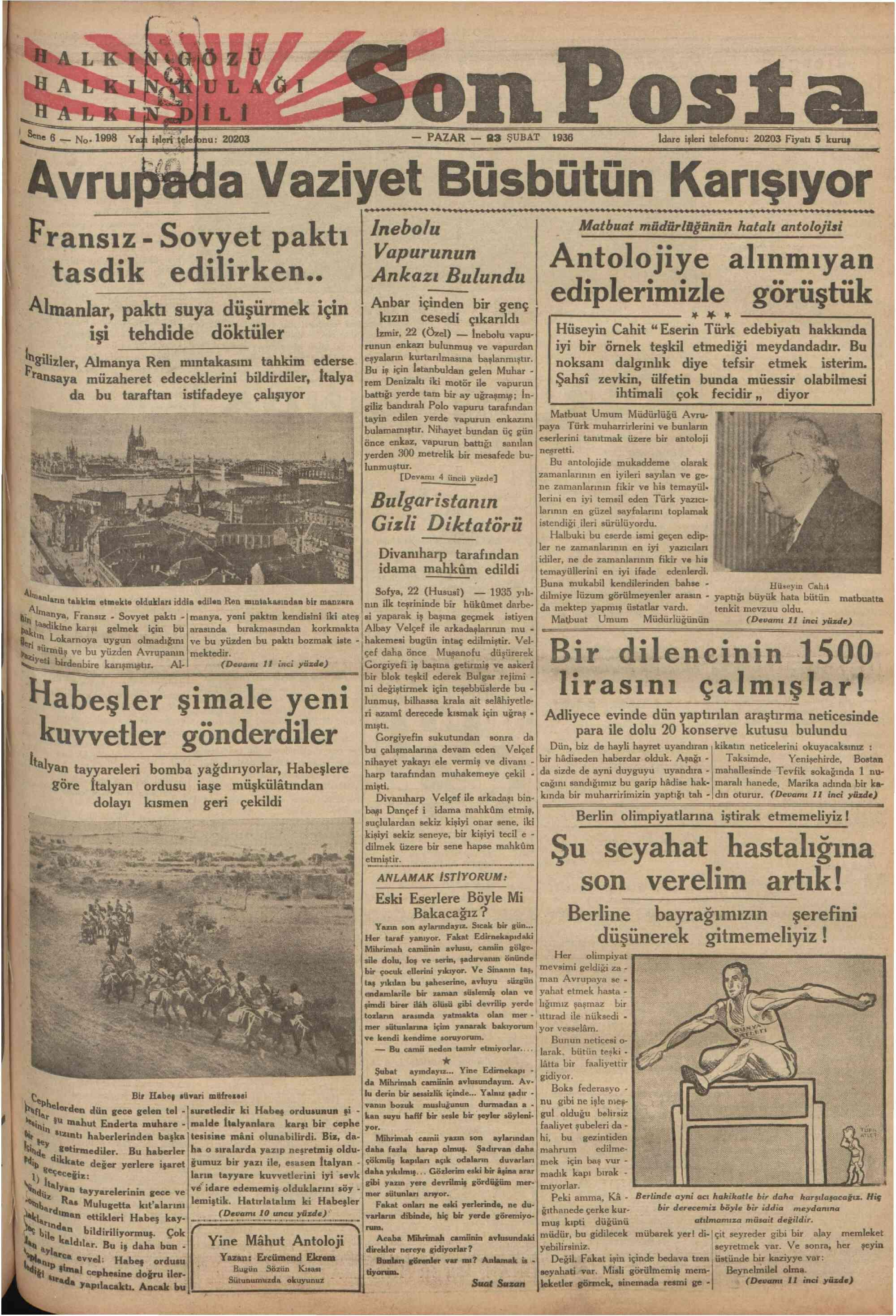 23 Şubat 1936 Tarihli Son Posta Gazetesi Sayfa 2