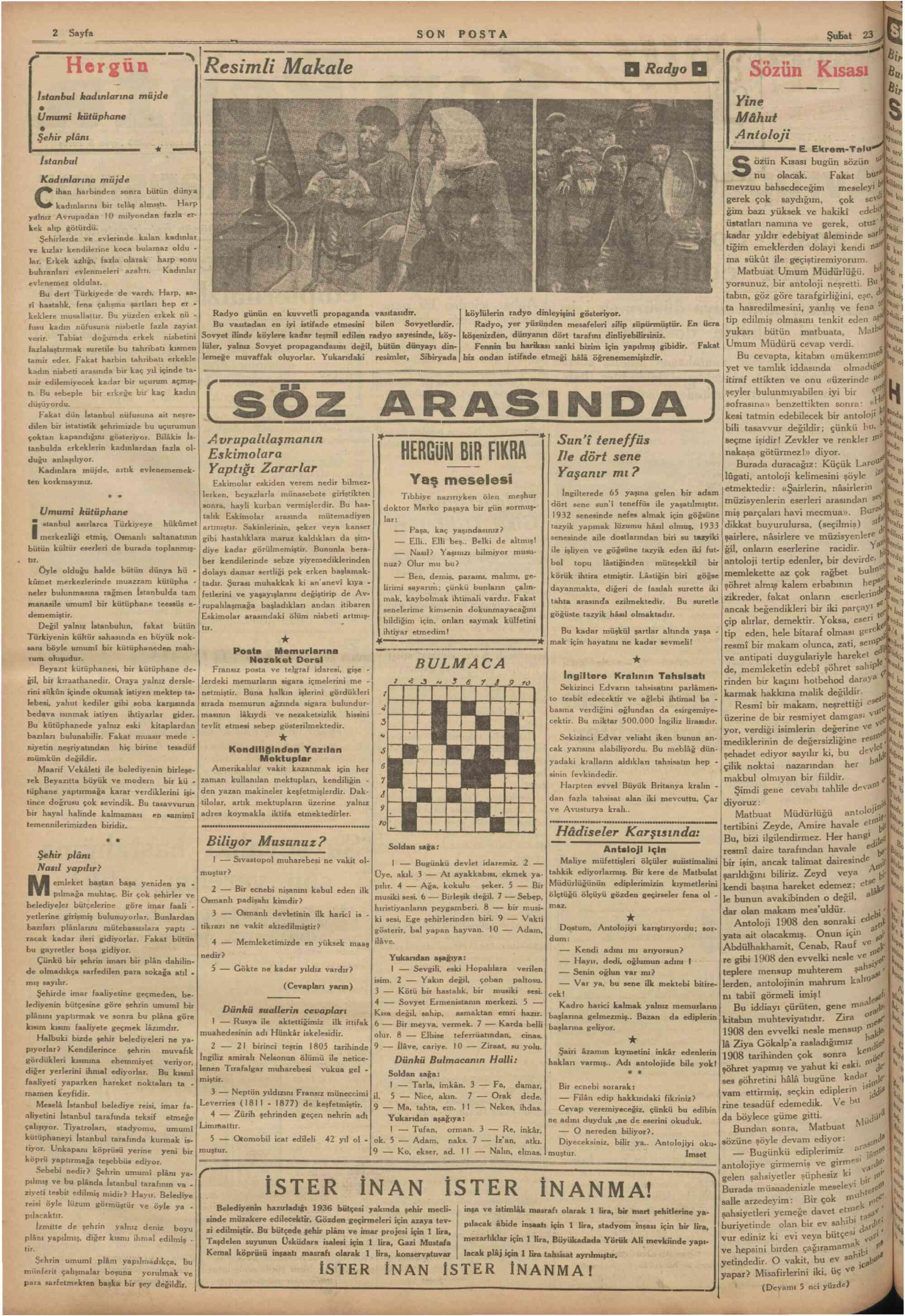 23 Şubat 1936 Tarihli Son Posta Gazetesi Sayfa 3