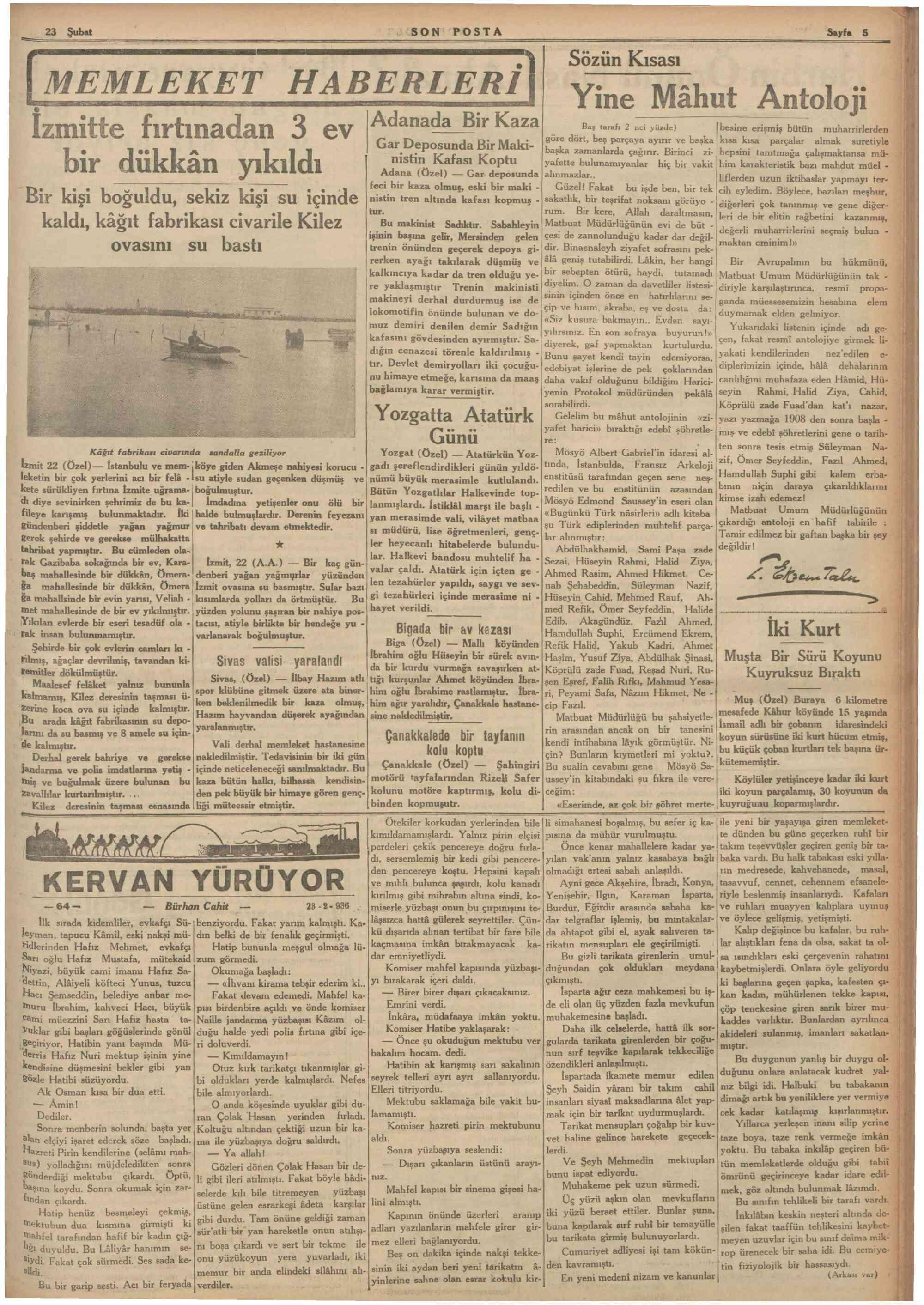 23 Şubat 1936 Tarihli Son Posta Gazetesi Sayfa 6