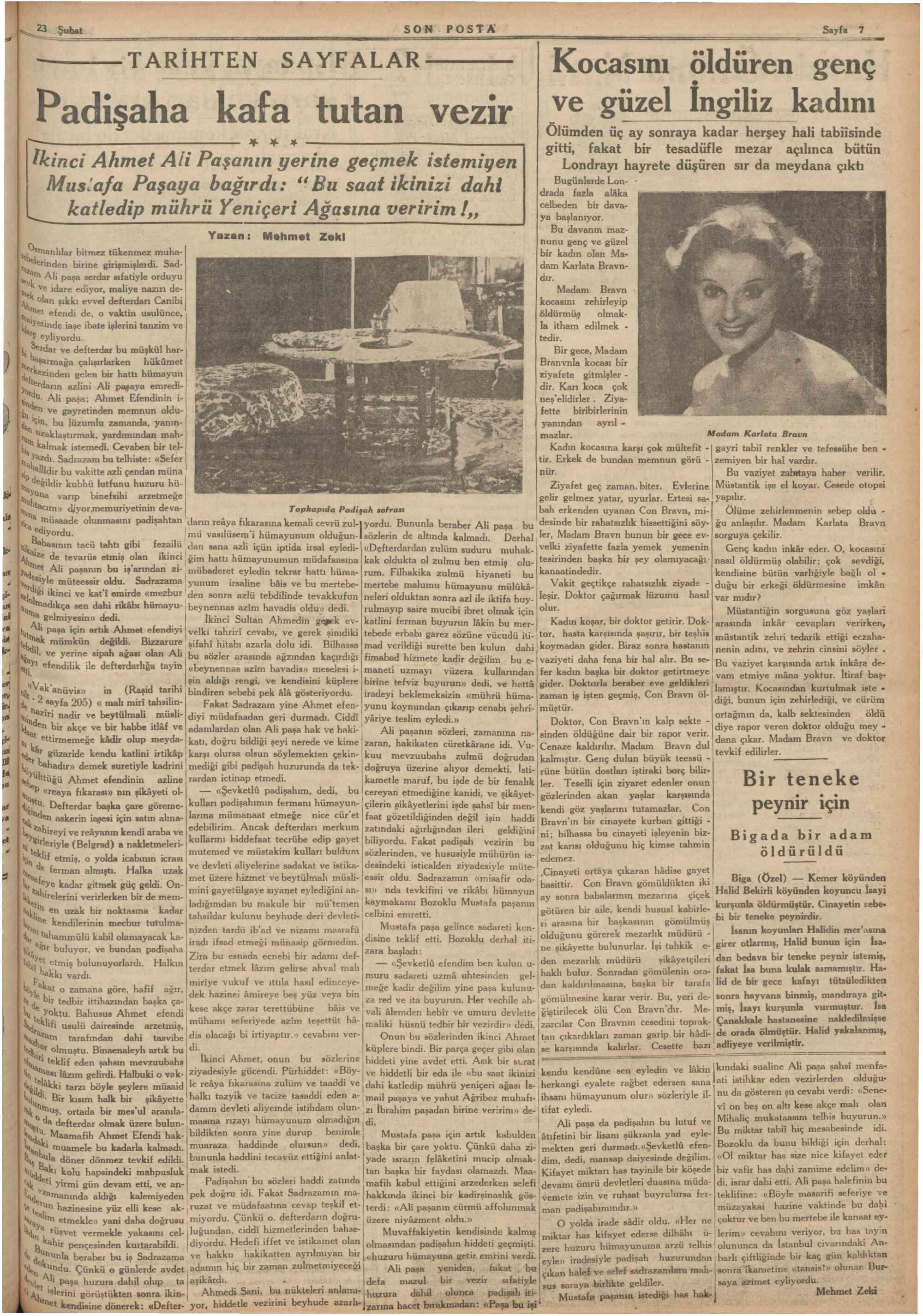 23 Şubat 1936 Tarihli Son Posta Gazetesi Sayfa 8