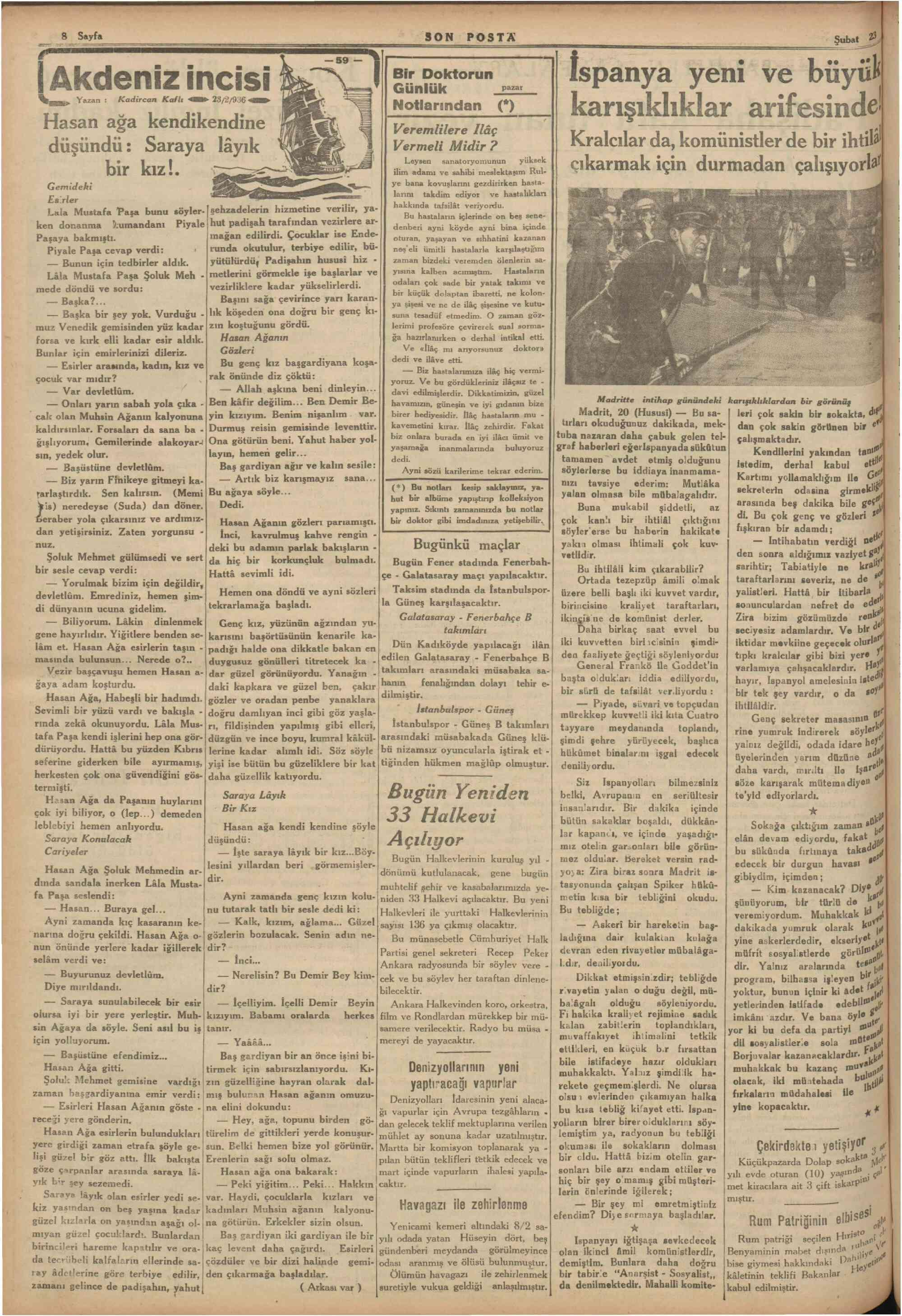 23 Şubat 1936 Tarihli Son Posta Gazetesi Sayfa 9