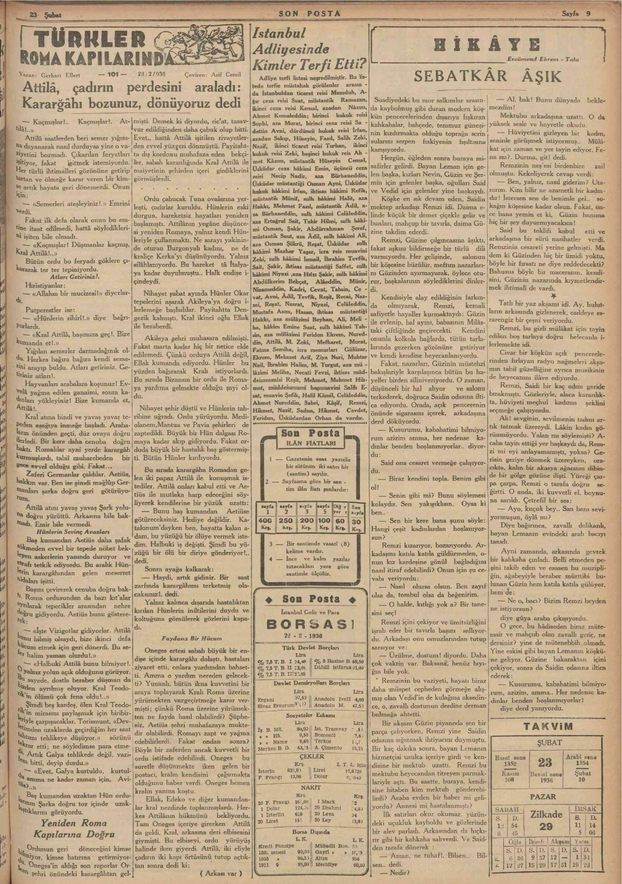 23 Şubat 1936 Tarihli Son Posta Gazetesi Sayfa 10