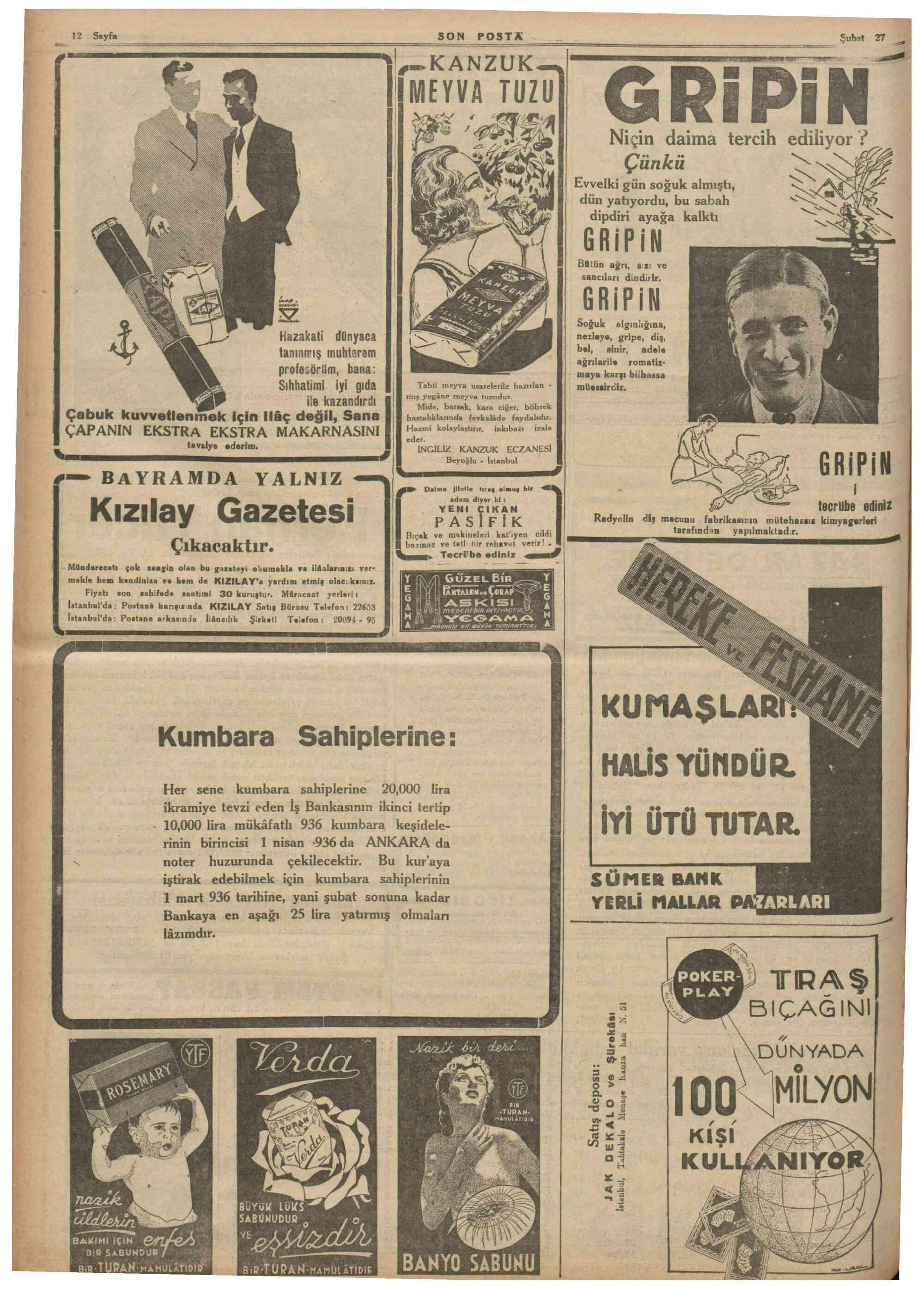 28 Şubat 1936 Tarihli Son Posta Dergisi Sayfa 1