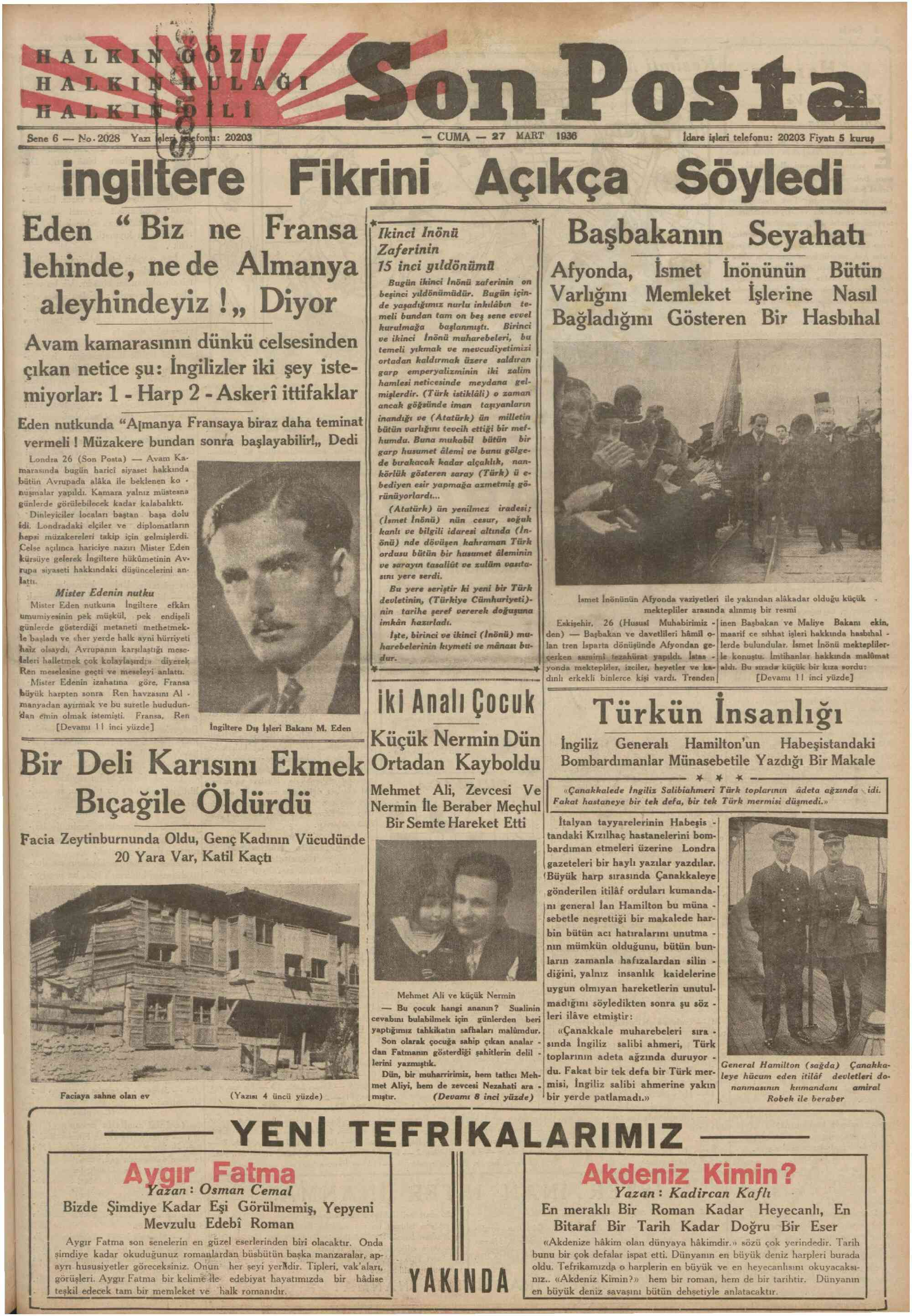 27 Mart 1936 Tarihli Son Posta Dergisi Sayfa 1