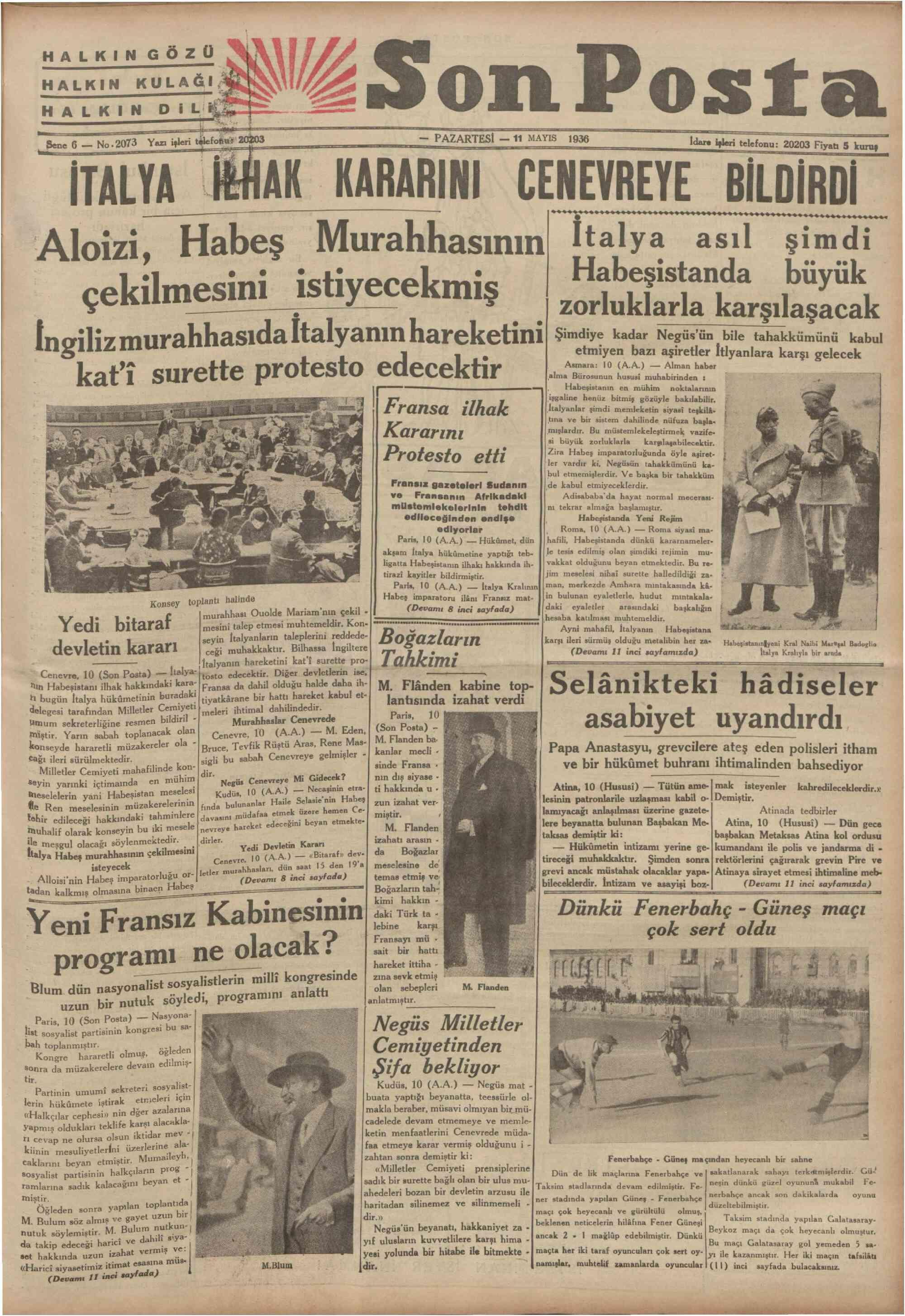 11 Mayıs 1936 Tarihli Son Posta Gazetesi Sayfa 1