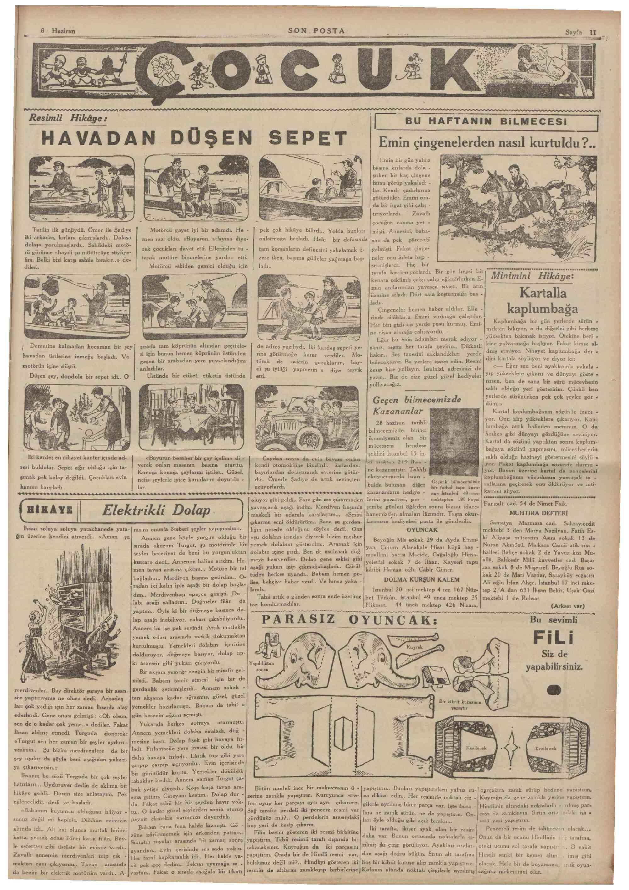 6 Haziran 1936 Tarihli Son Posta Gazetesi Sayfa 11