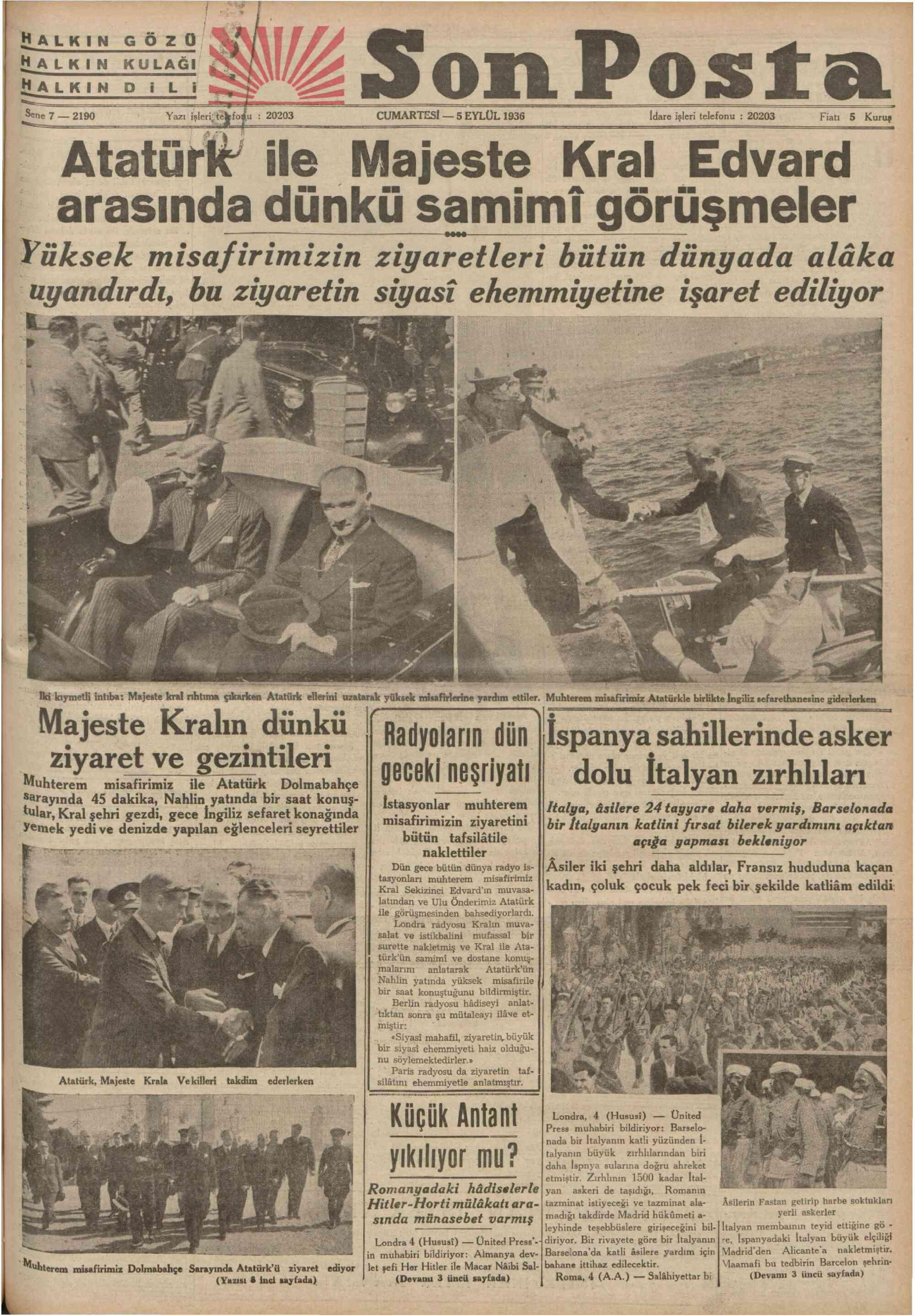 5 Eylül 1936 Tarihli Son Posta Gazetesi Sayfa 1