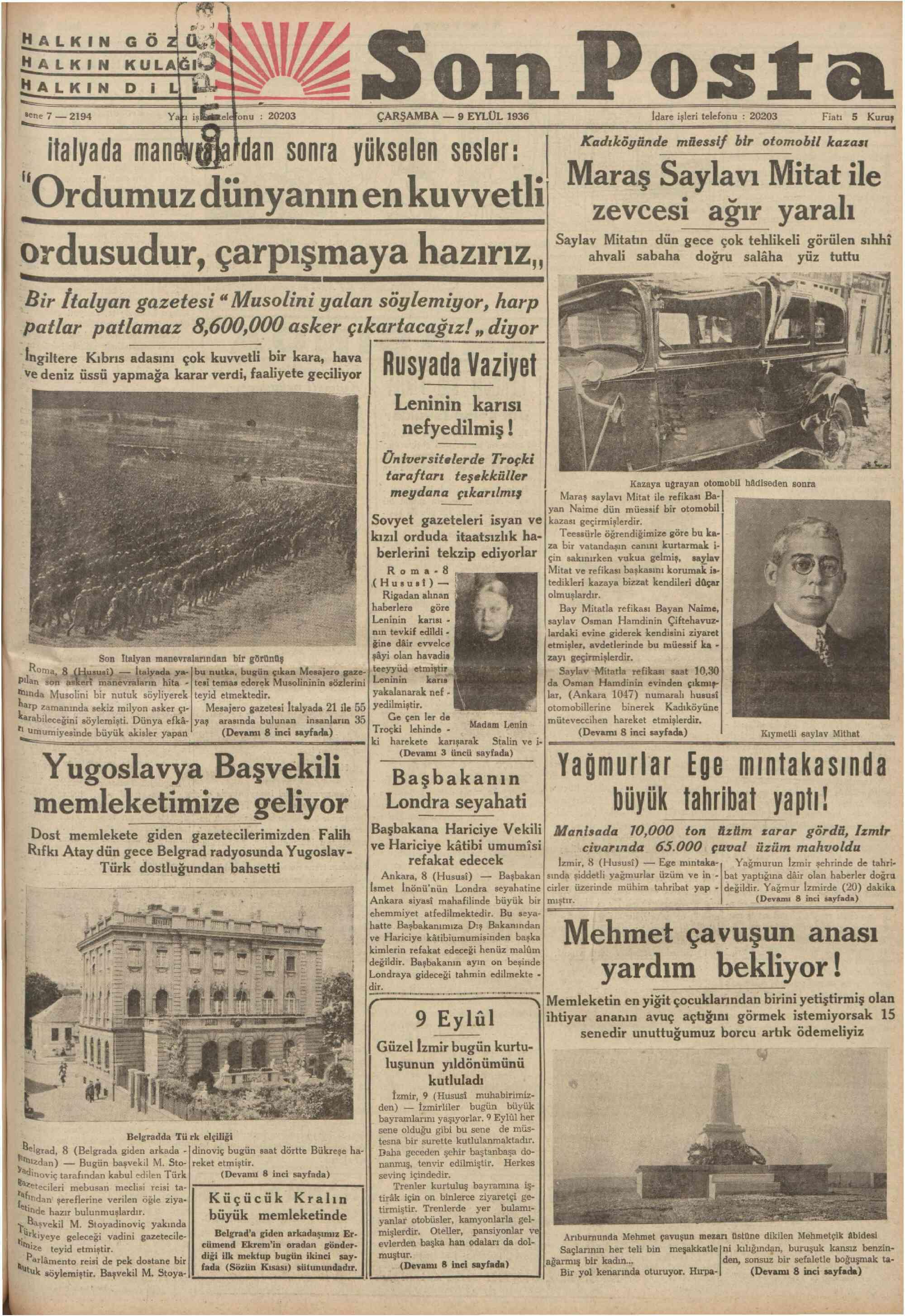 9 Eylül 1936 Tarihli Son Posta Gazetesi Sayfa 1