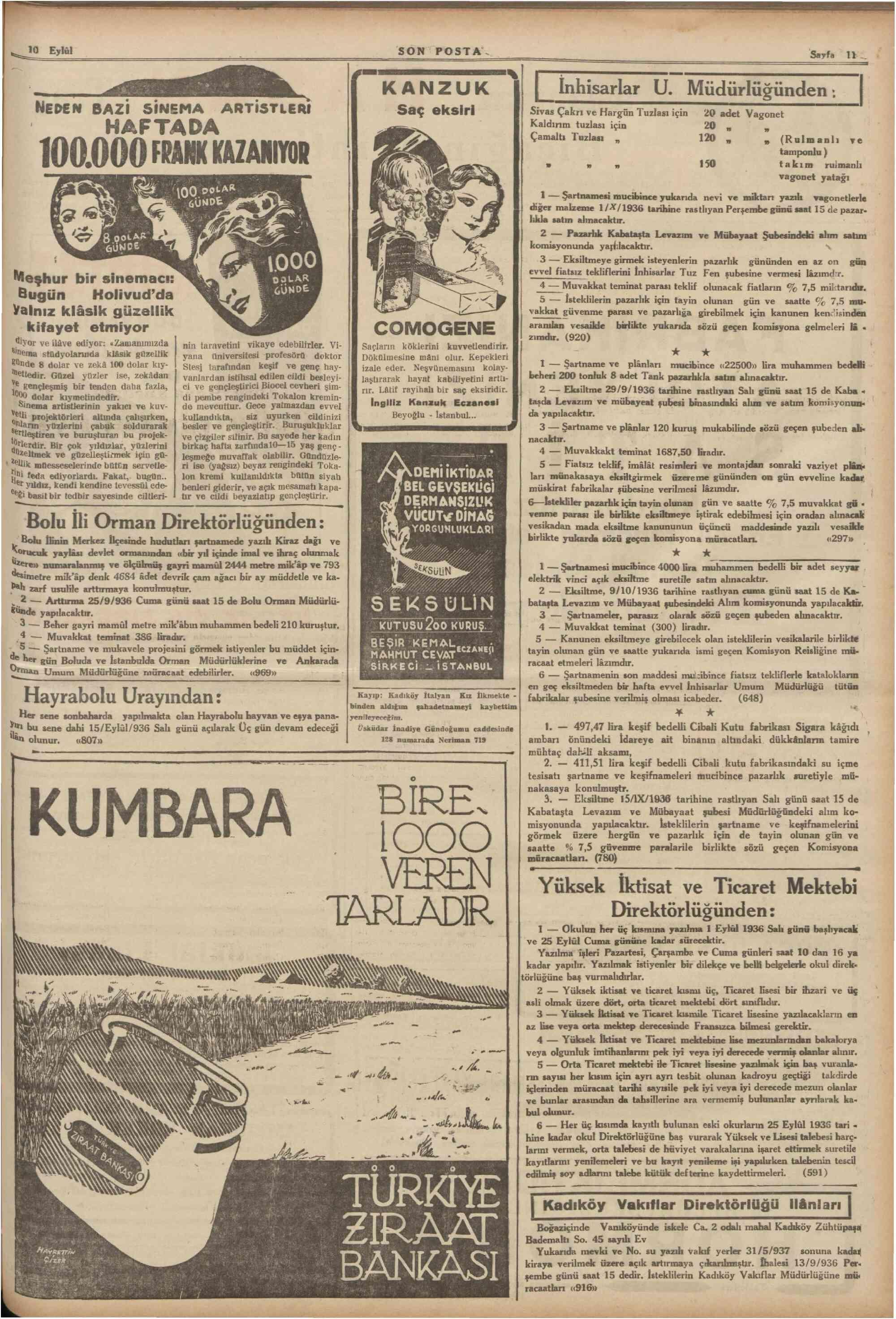 10 Eylül 1936 Tarihli Son Posta Gazetesi Sayfa 11
