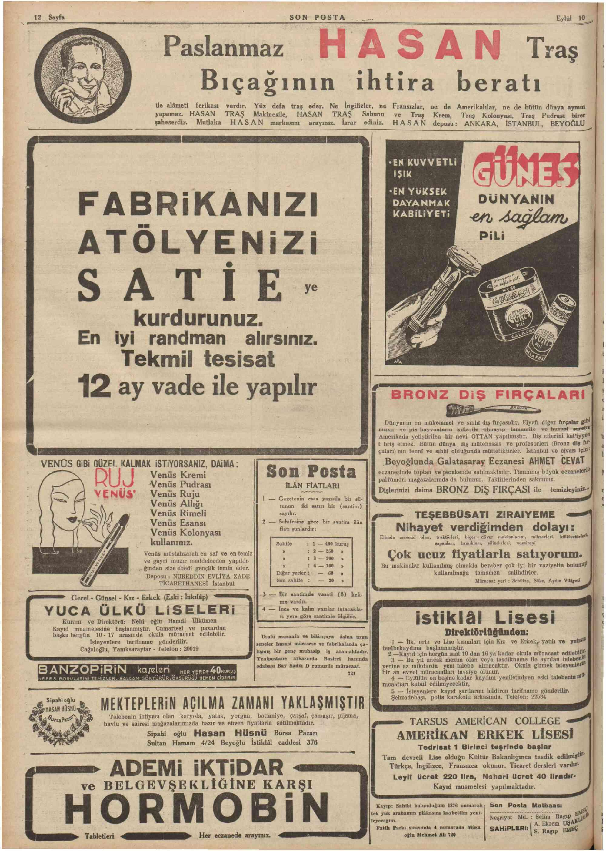 September 10, 1936 Tarihli Son Posta Gazetesi Sayfa 12
