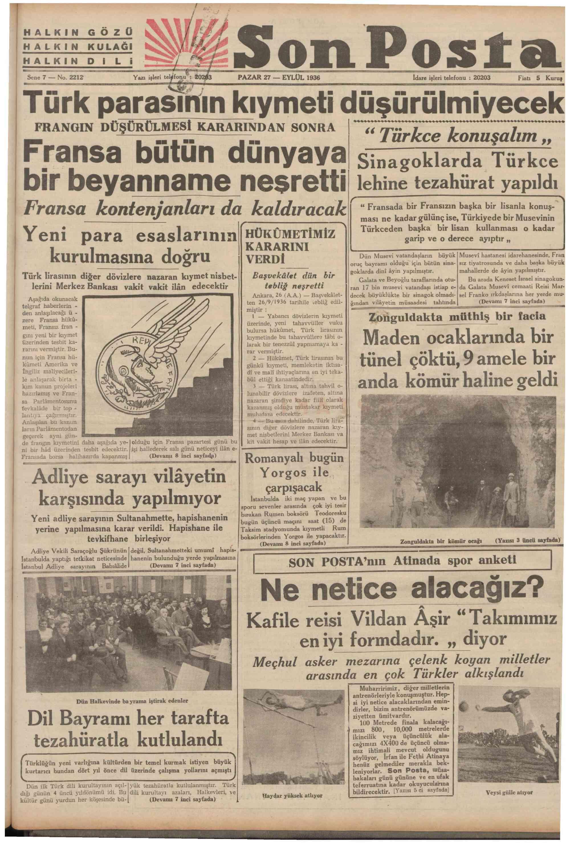 27 Eylül 1936 Tarihli Son Posta Gazetesi Sayfa 1