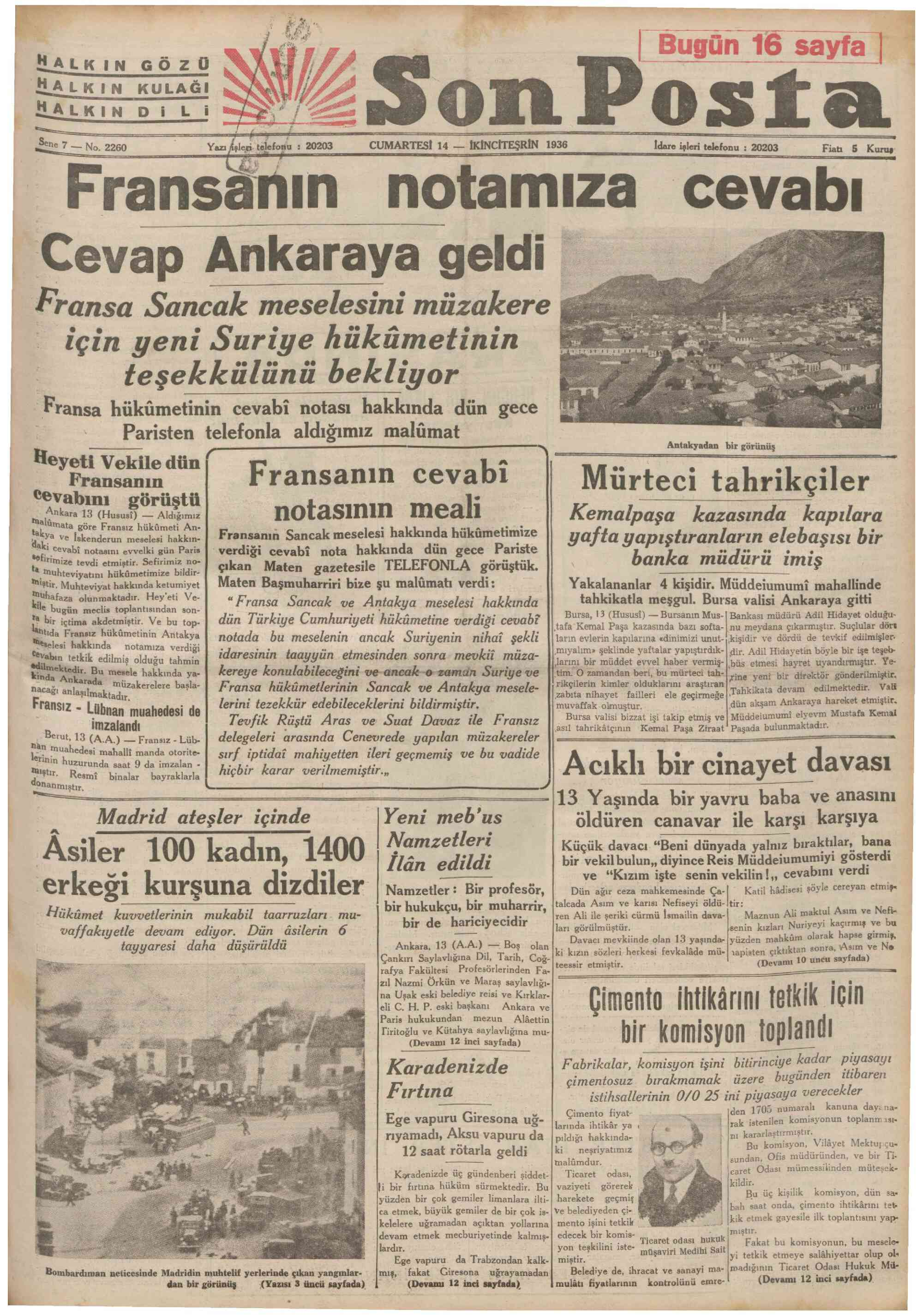 14 Kasım 1936 Tarihli Son Posta Gazetesi Sayfa 1