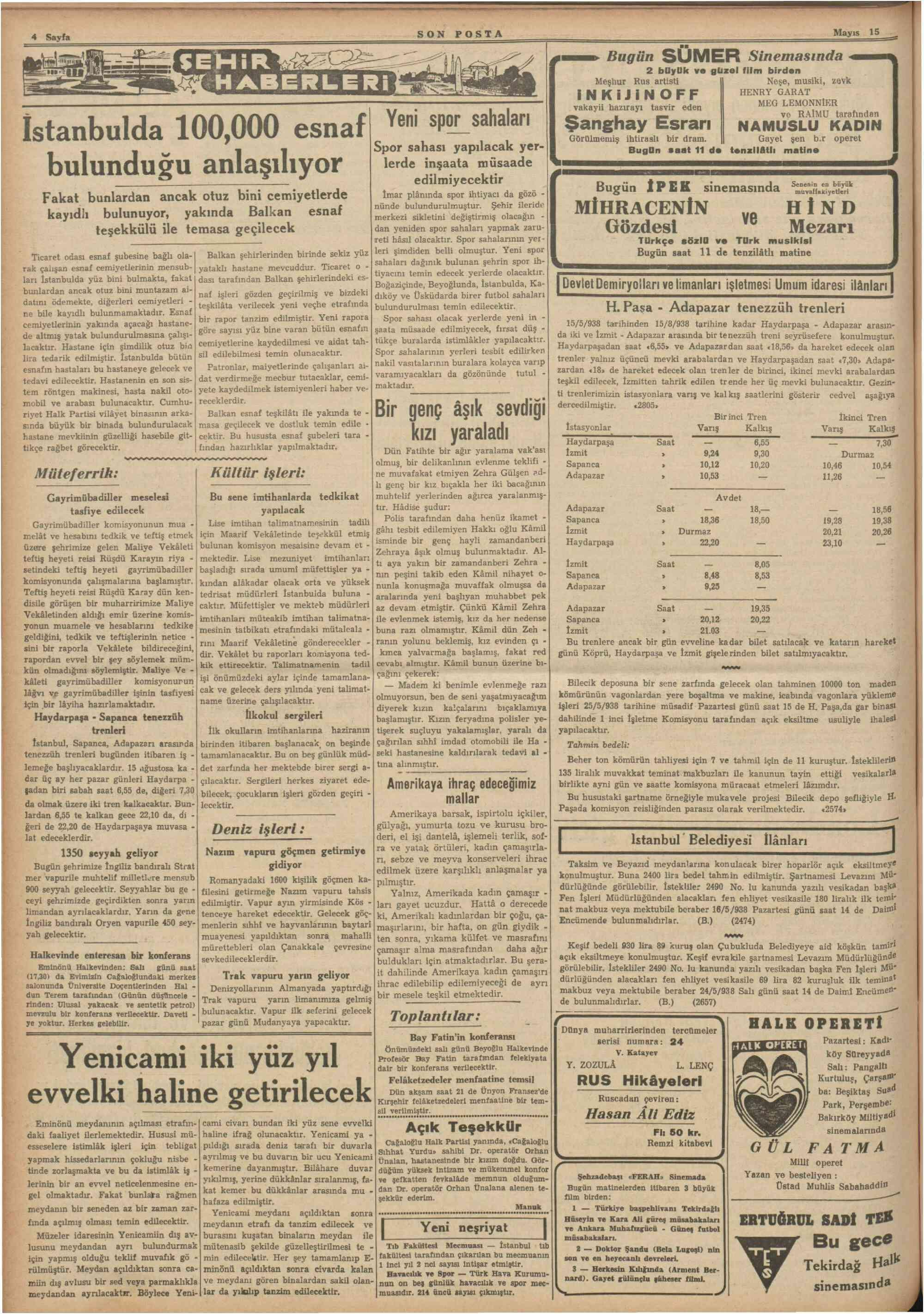 15 Mayıs 1938 Tarihli Son Posta Gazetesi Sayfa 4