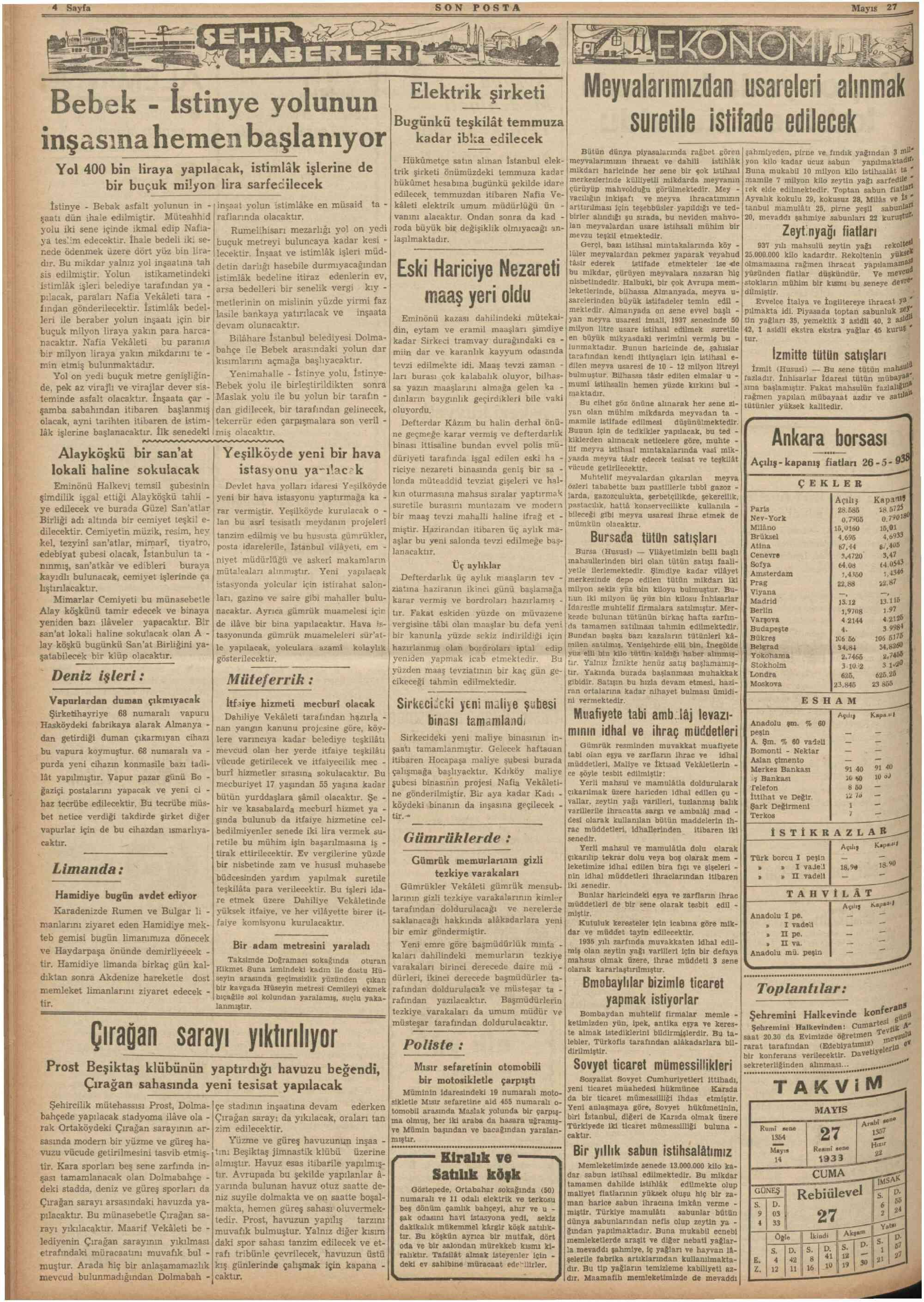 May 27, 1938 Tarihli Son Posta Dergisi Sayfa 4