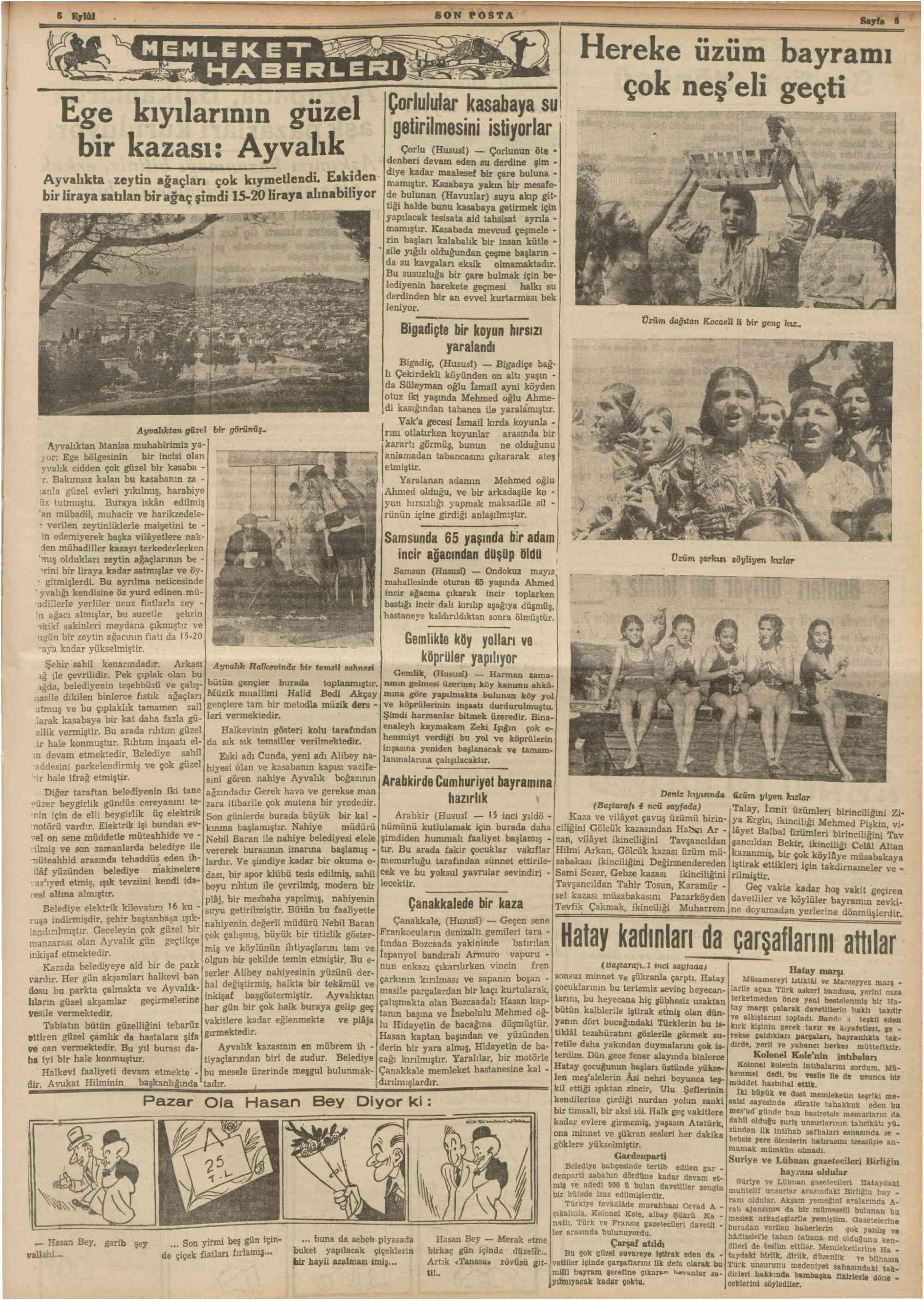 5 Eylül 1938 Tarihli Son Posta Dergisi Sayfa 5