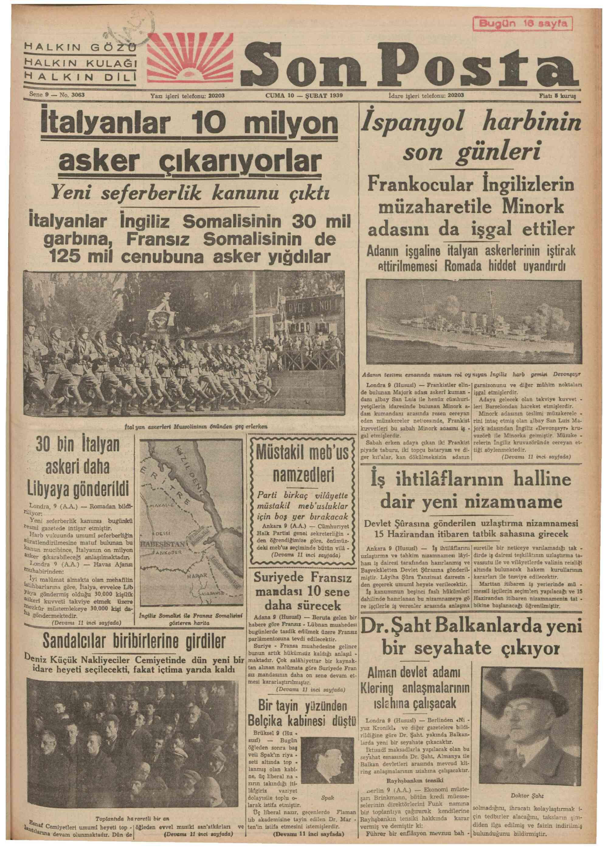 February 10, 1939 Tarihli Son Posta Gazetesi Sayfa 1