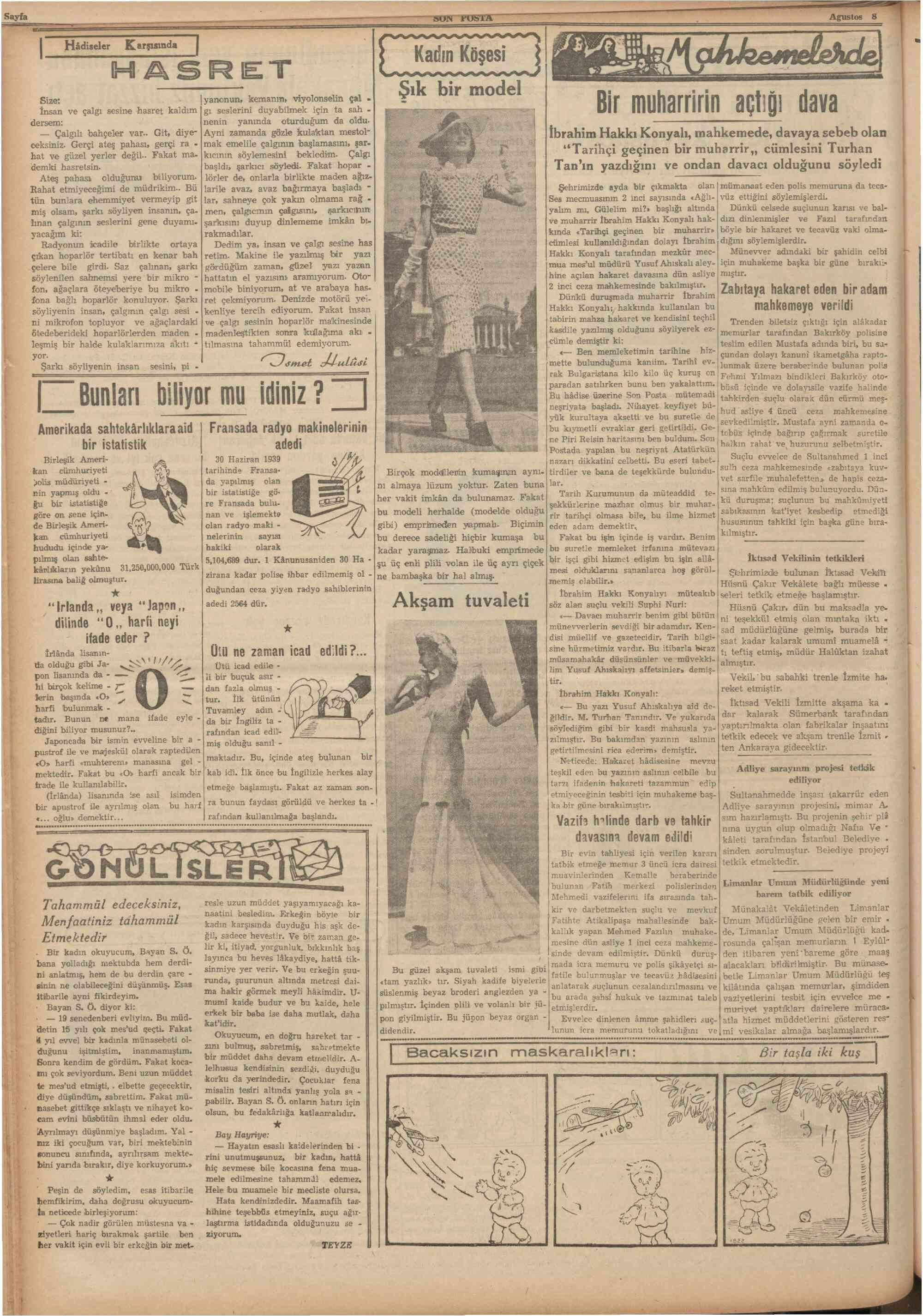 8 Ağustos 1939 Tarihli Son Posta Gazetesi Sayfa 6