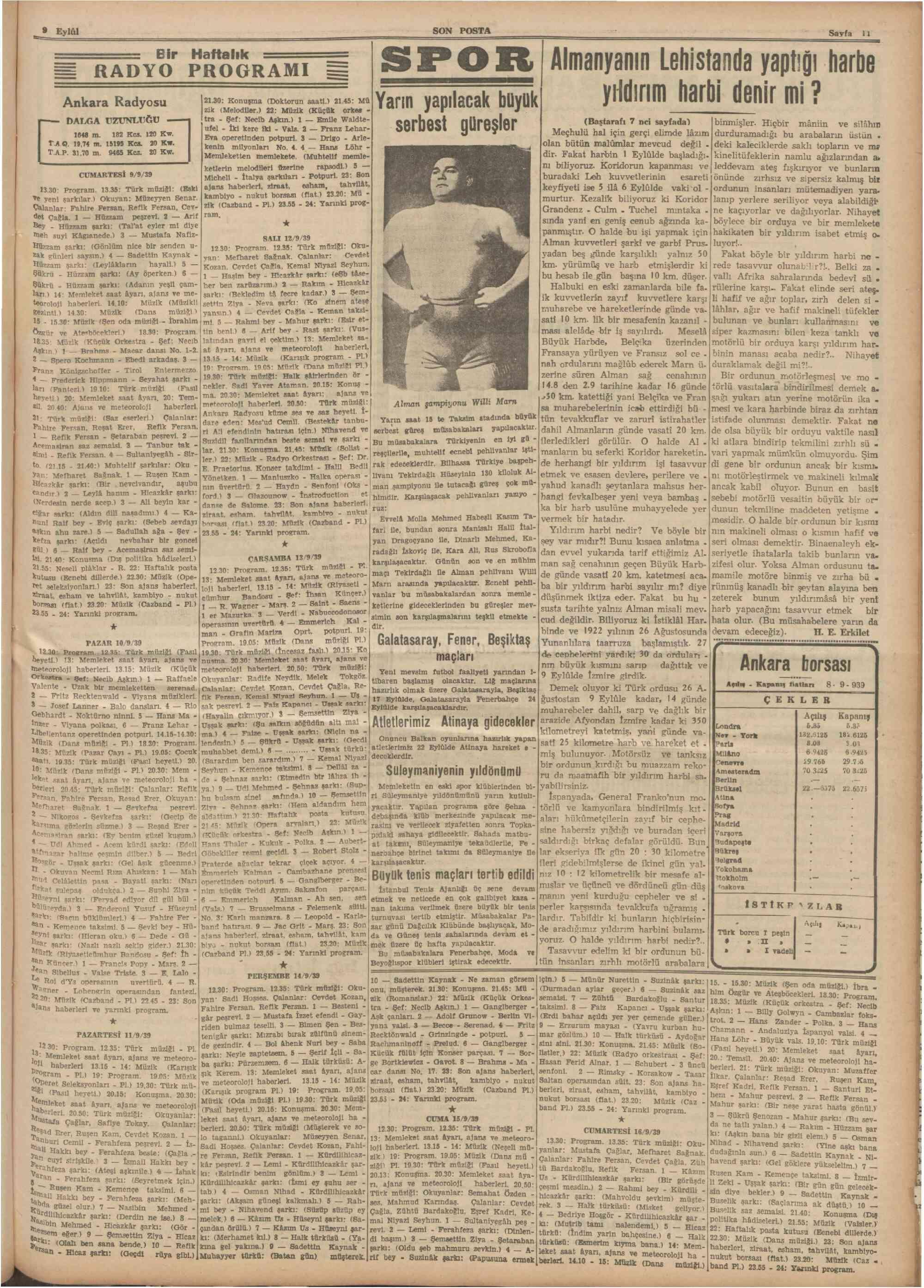 9 Eylül 1939 Tarihli Son Posta Dergisi Sayfa 11