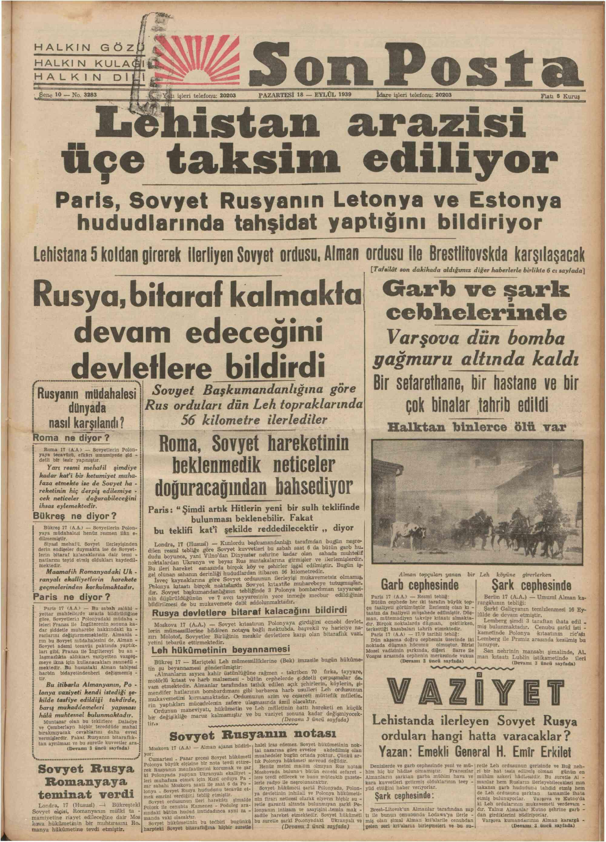 18 Eylül 1939 Tarihli Son Posta Gazetesi Sayfa 1