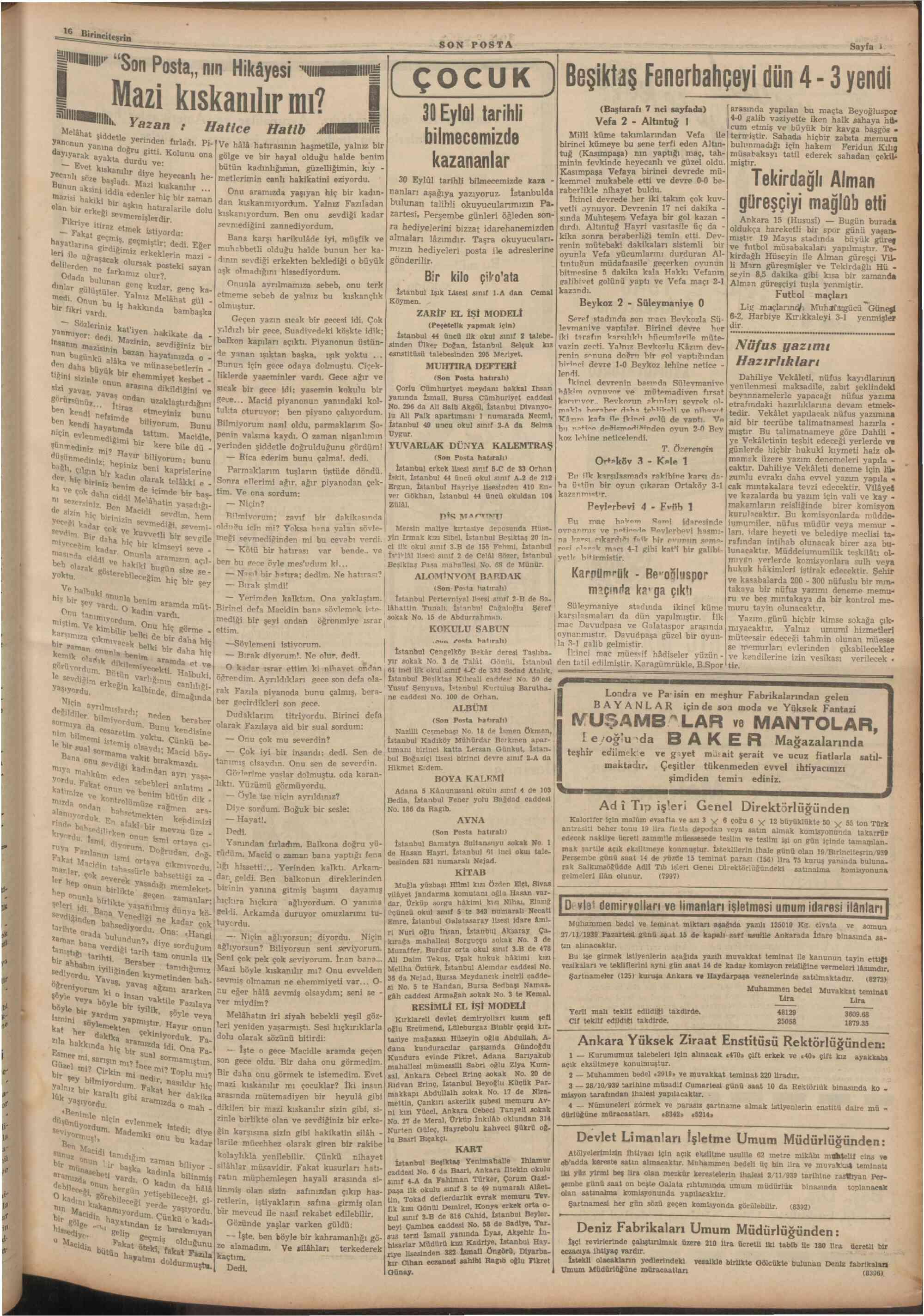 16 Ekim 1939 Tarihli Son Posta Dergisi Sayfa 11