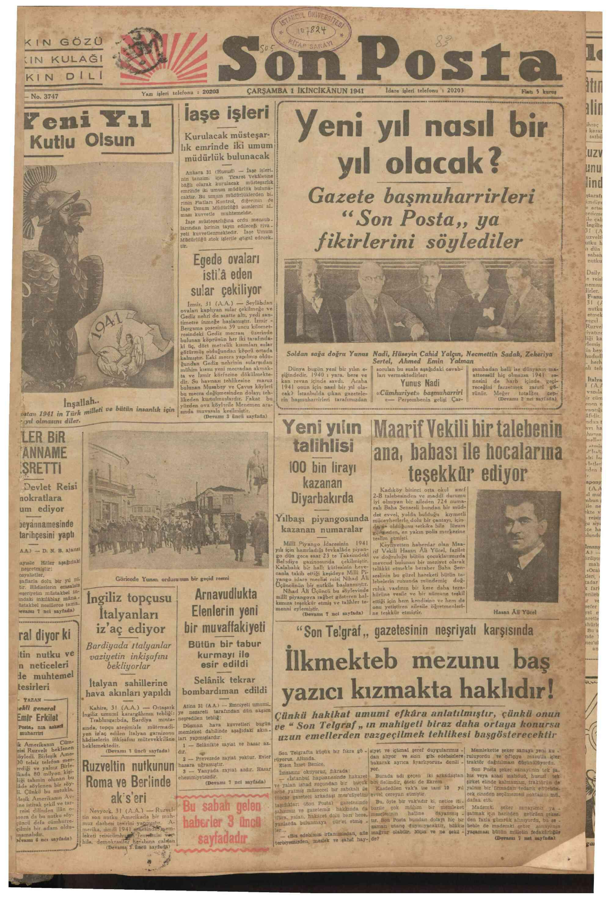 1 Ocak 1941 Tarihli Son Posta Gazetesi Sayfa 1