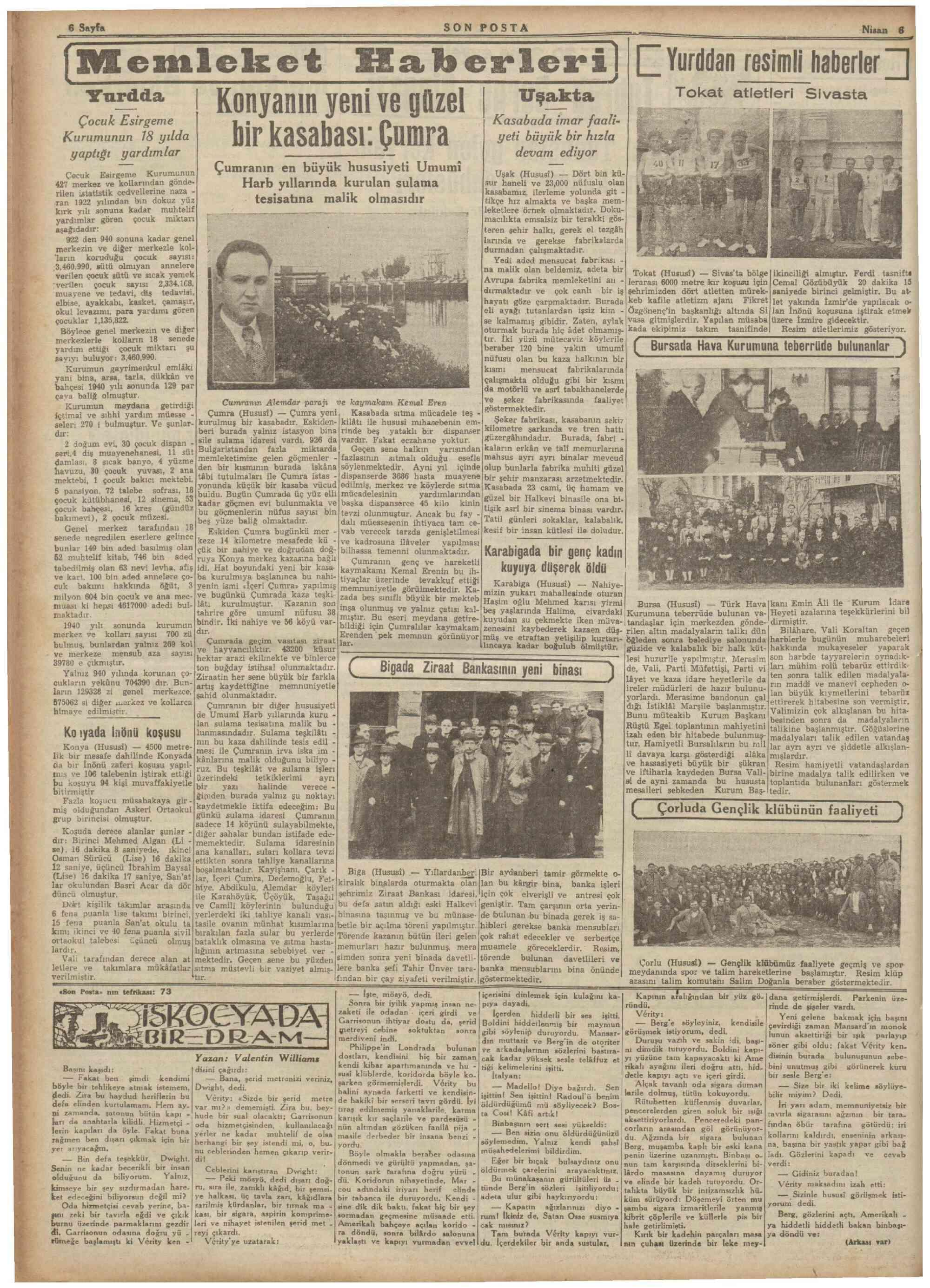 6 Nisan 1941 Tarihli Son Posta Gazetesi Sayfa 6