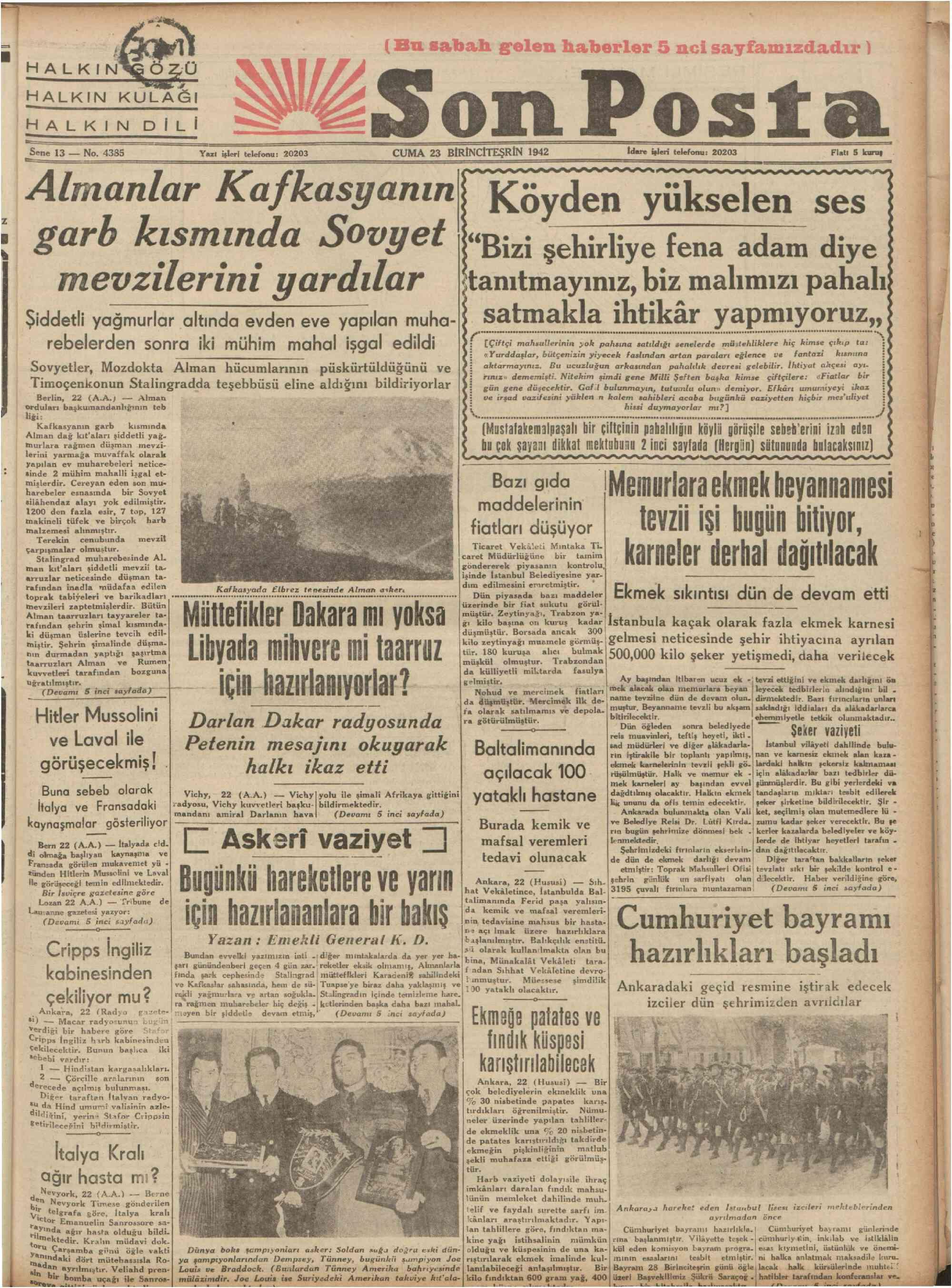 23 Ekim 1942 tarihli Son Posta Gazetesi Sayfa 1