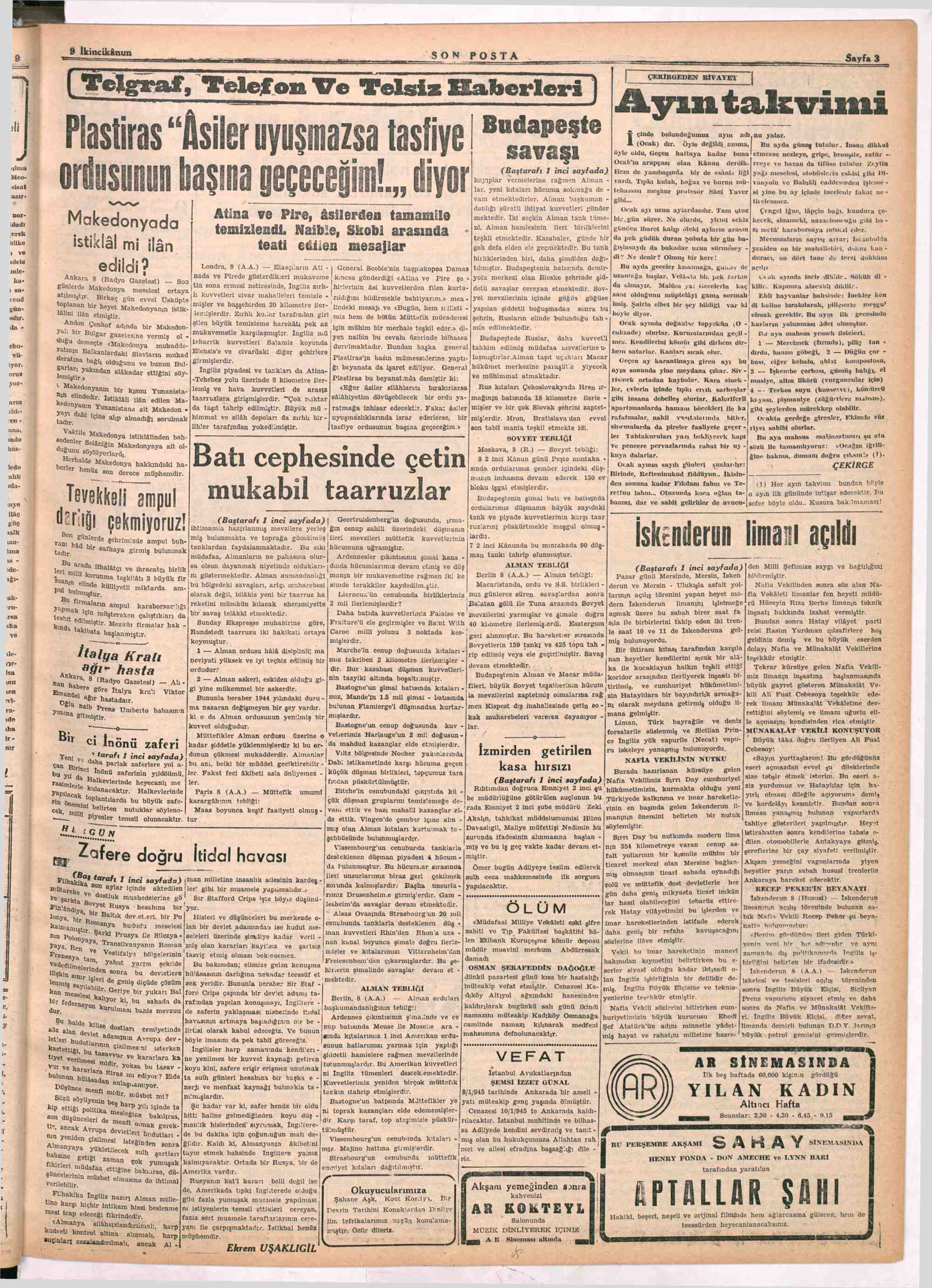 9 Ocak 1945 Tarihli Son Posta Dergisi Sayfa 3