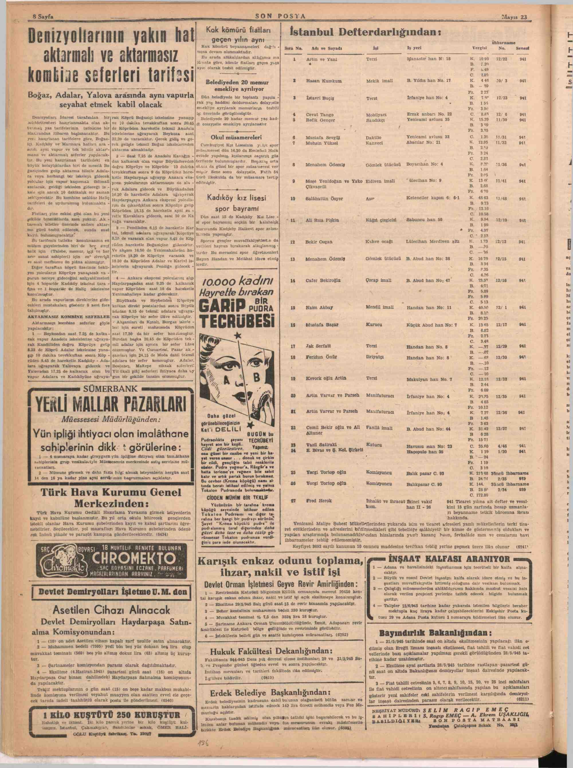 23 Mayıs 1945 Tarihli Son Posta Dergisi Sayfa 8