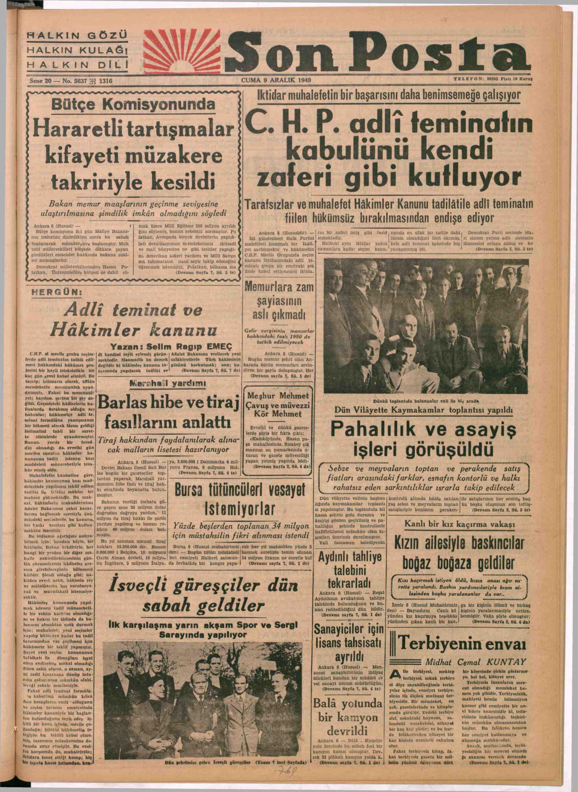9 Aralık 1949 tarihli Son Posta Gazetesi Sayfa 1
