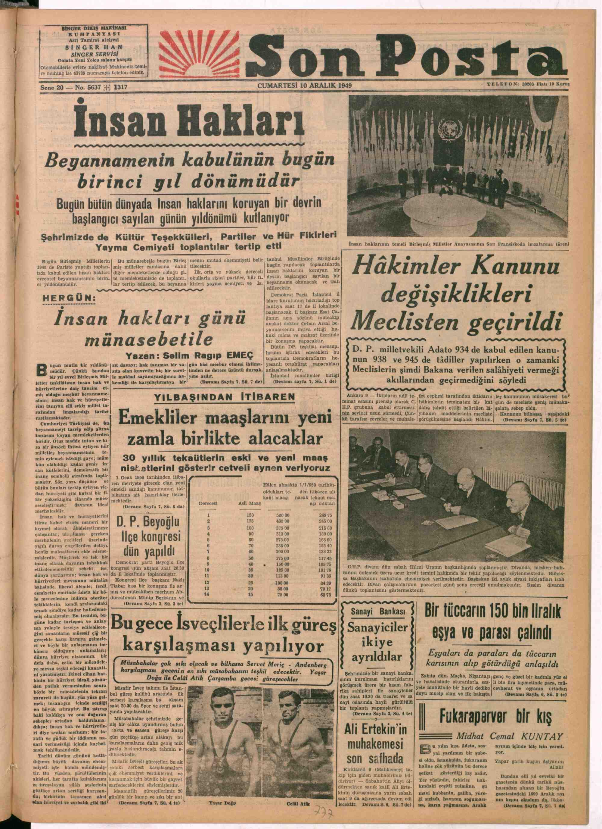 December 10, 1949 Tarihli Son Posta Gazetesi Sayfa 1