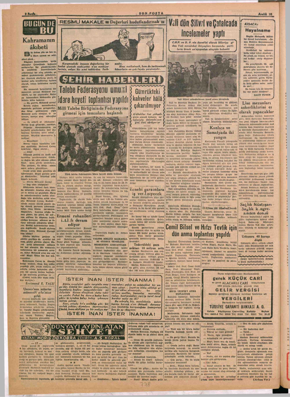 10 Aralık 1949 tarihli Son Posta Gazetesi Sayfa 2