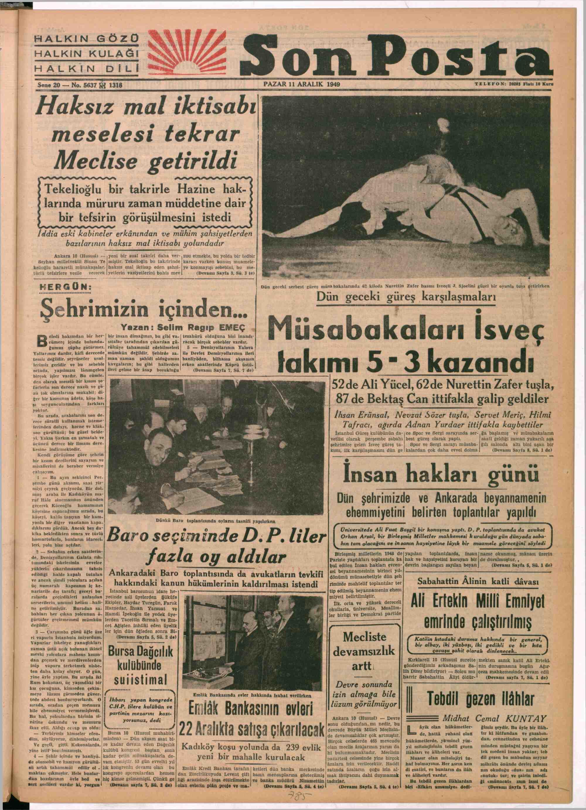 11 Aralık 1949 Tarihli Son Posta Gazetesi Sayfa 1