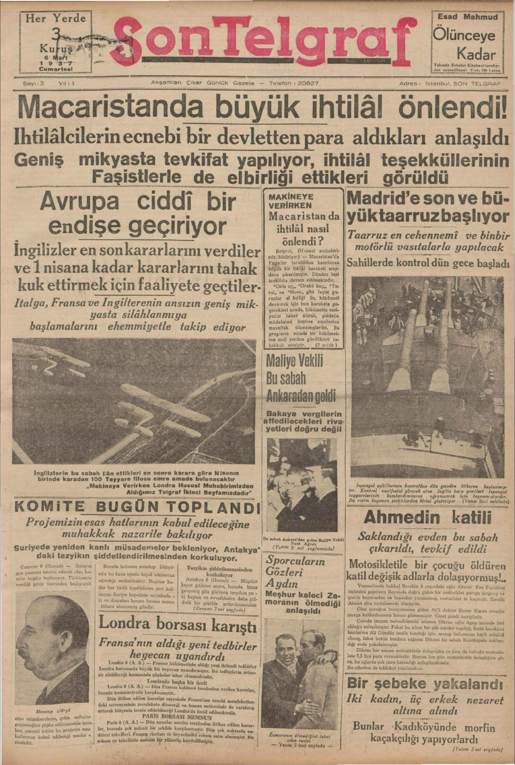 6 Mart 1937 Tarihli Son Telgraf Gazetesi Sayfa 1