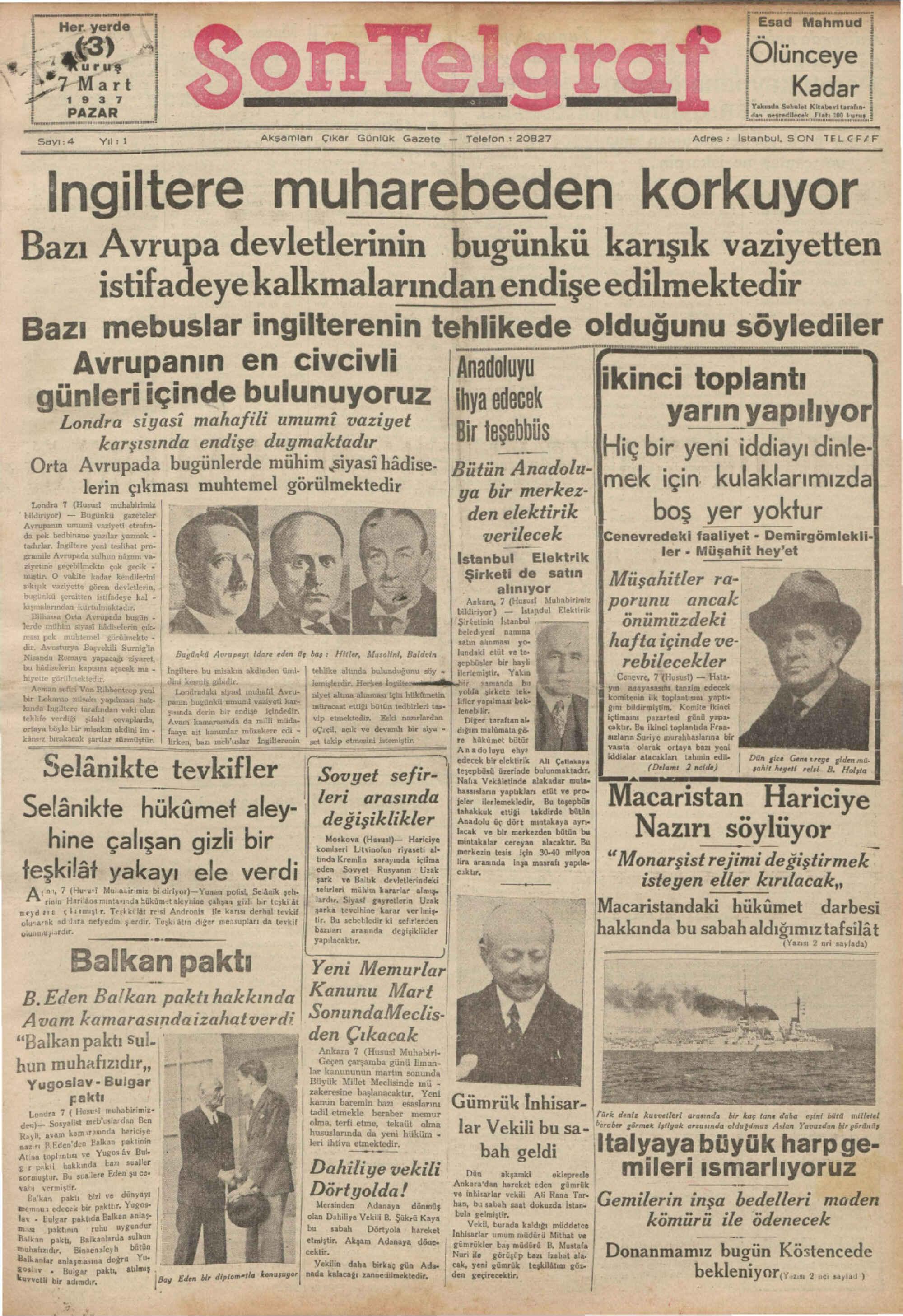 7 Mart 1937 Tarihli Son Telgraf Gazetesi Sayfa 1