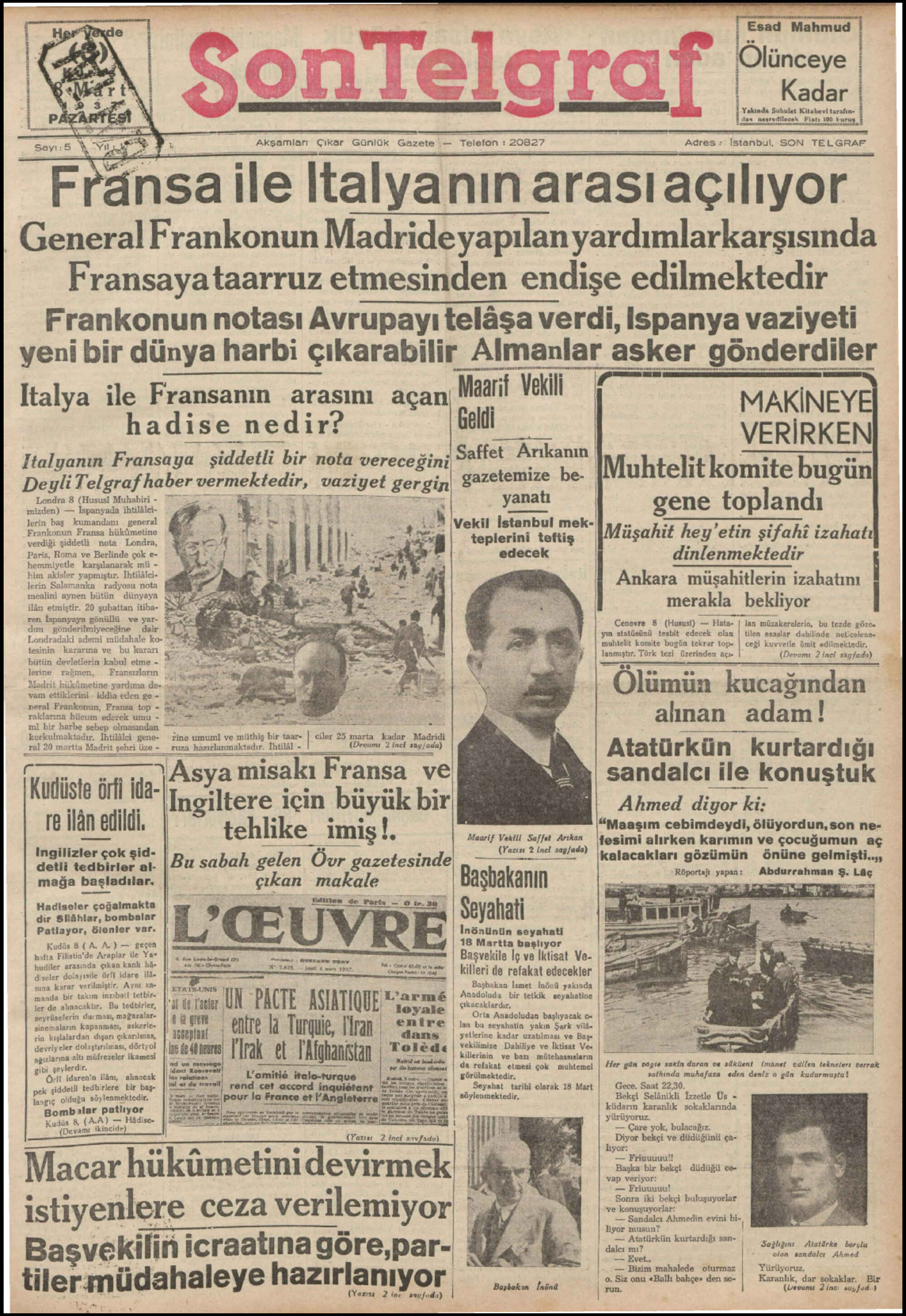 8 Mart 1937 Tarihli Son Telgraf Gazetesi Sayfa 1