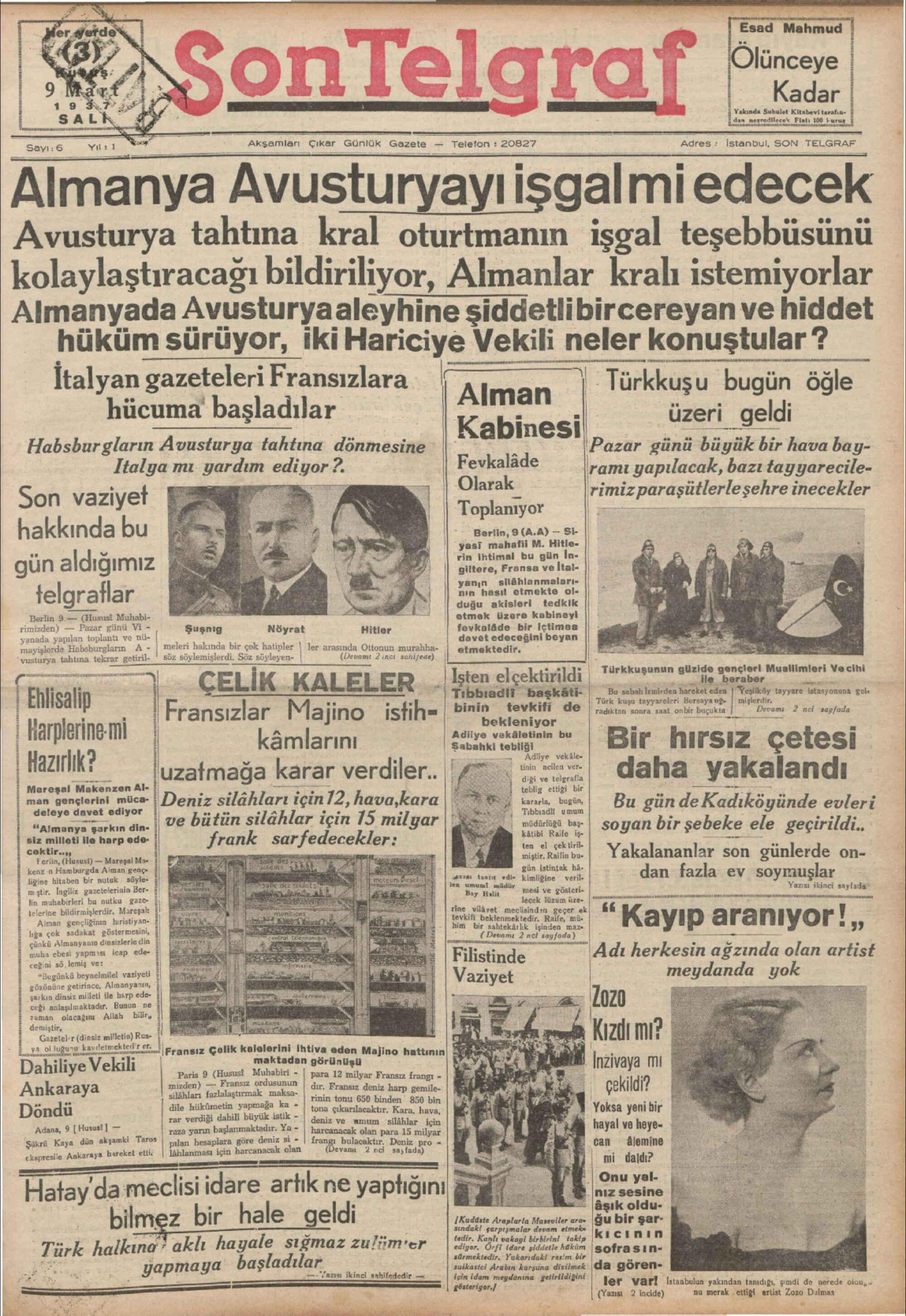 9 Mart 1937 Tarihli Son Telgraf Gazetesi Sayfa 1