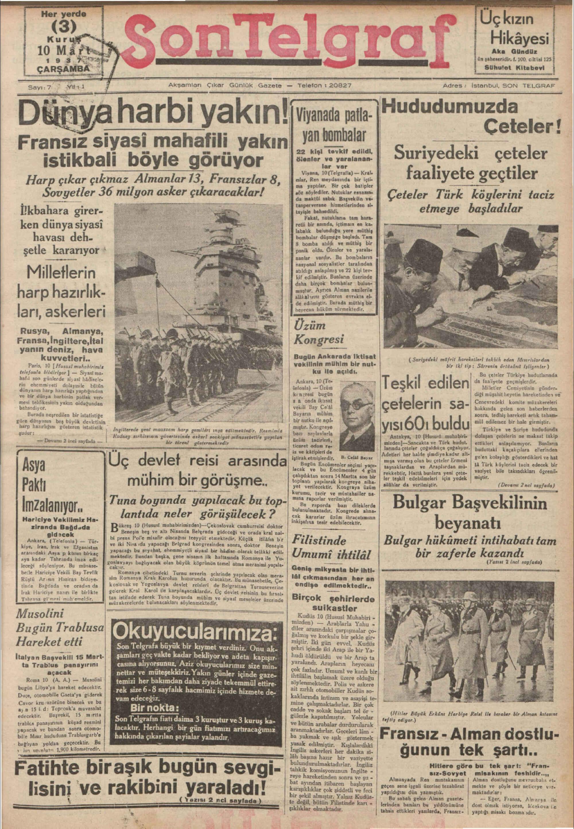 10 Mart 1937 Tarihli Son Telgraf Gazetesi Sayfa 1