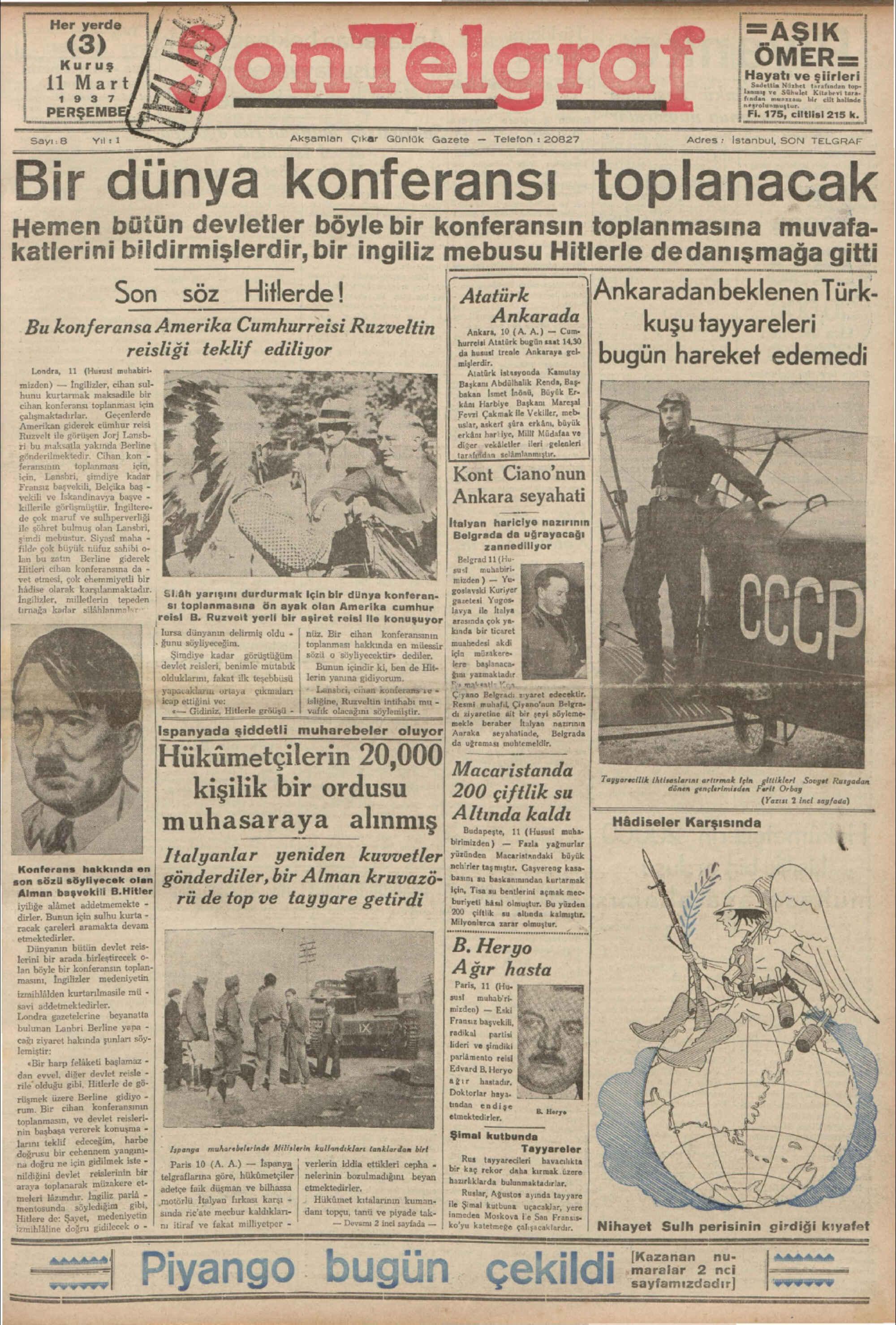 11 Mart 1937 Tarihli Son Telgraf Gazetesi Sayfa 1