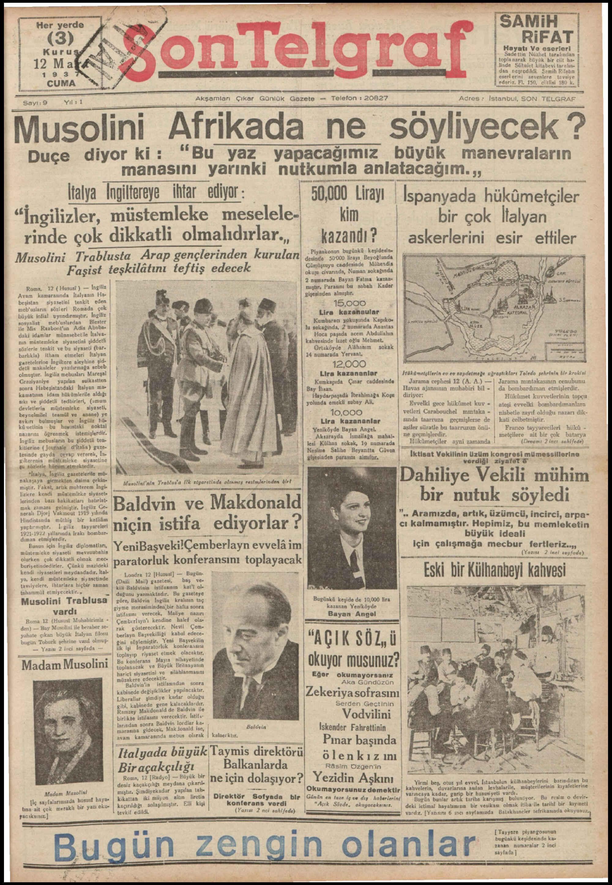 12 Mart 1937 Tarihli Son Telgraf Gazetesi Sayfa 1