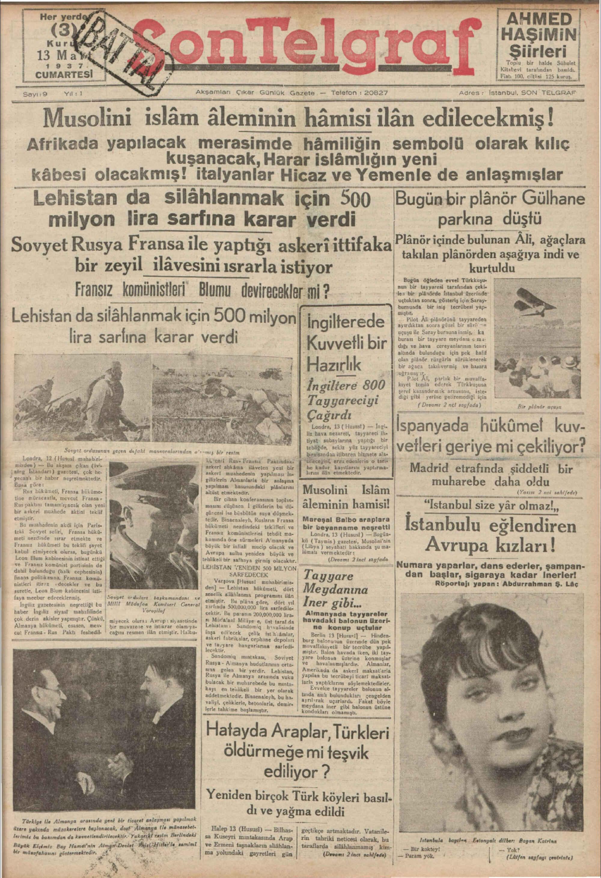 13 Mart 1937 Tarihli Son Telgraf Gazetesi Sayfa 1