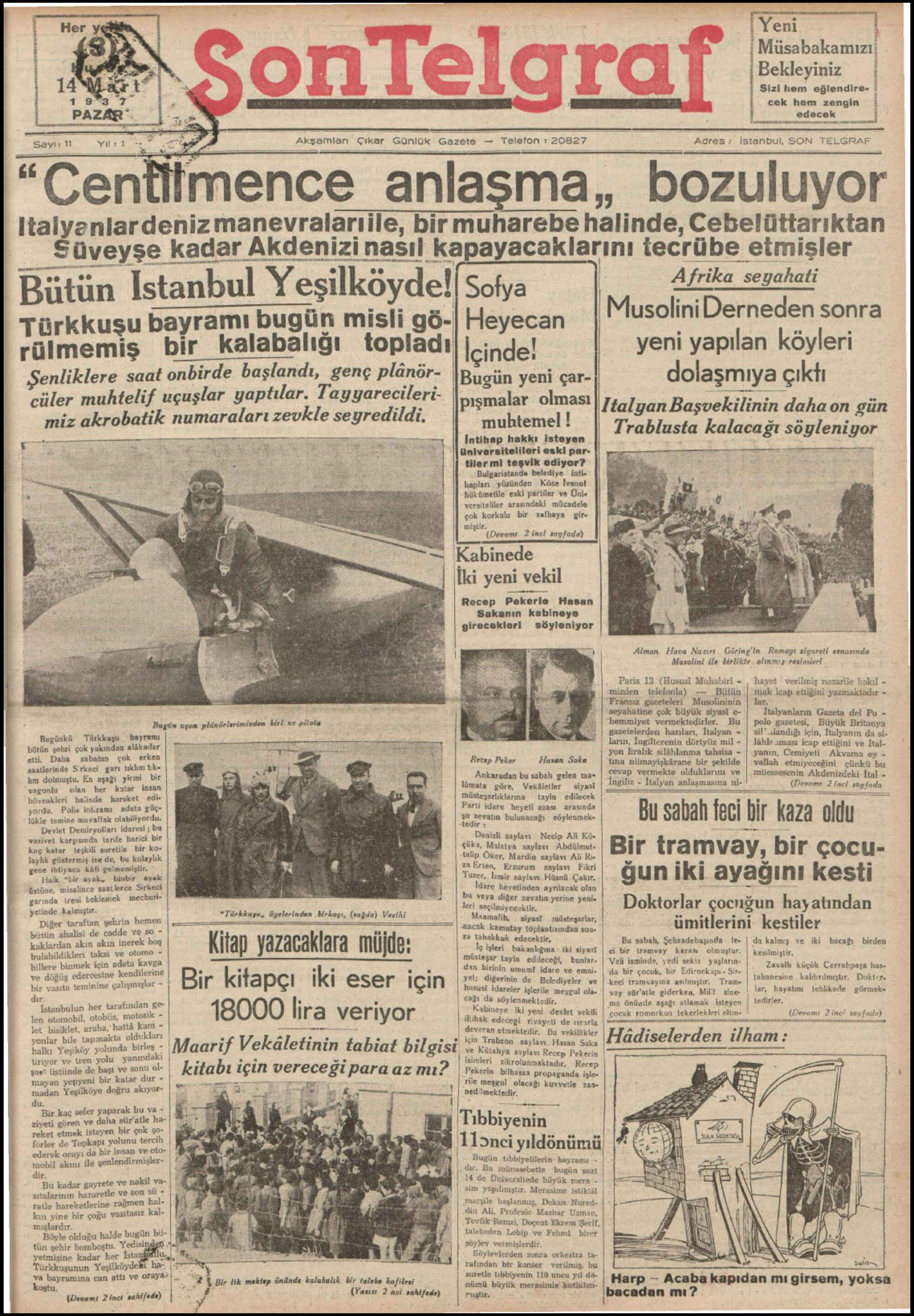 14 Mart 1937 Tarihli Son Telgraf Gazetesi Sayfa 1