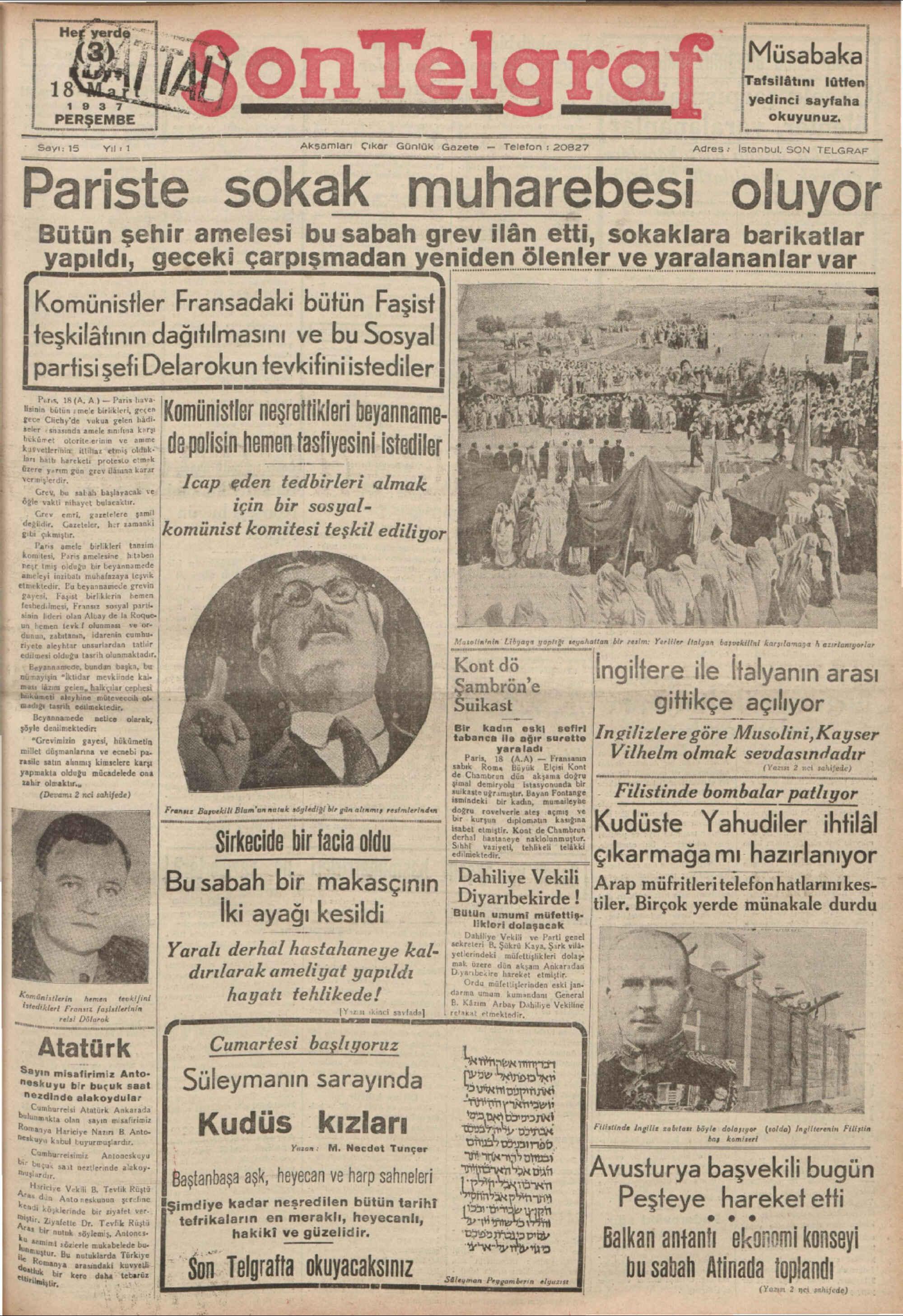 18 Mart 1937 Tarihli Son Telgraf Gazetesi Sayfa 1