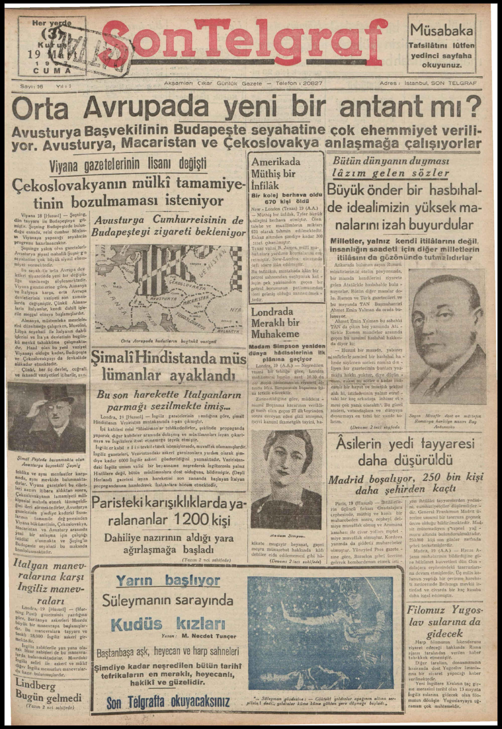 19 Mart 1937 Tarihli Son Telgraf Gazetesi Sayfa 1
